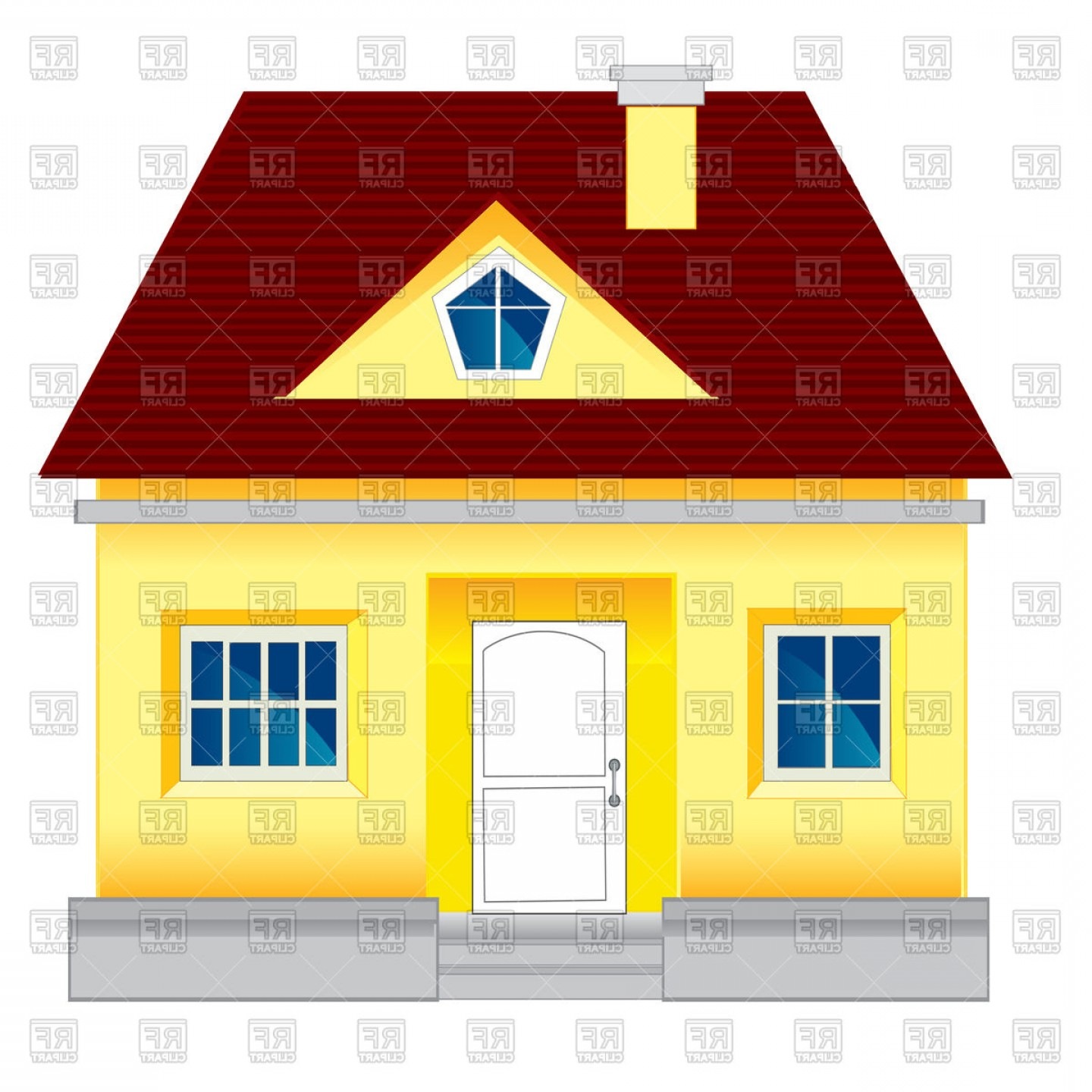 House Clip Art Vector: Small Lodge Country House Vector Clipart