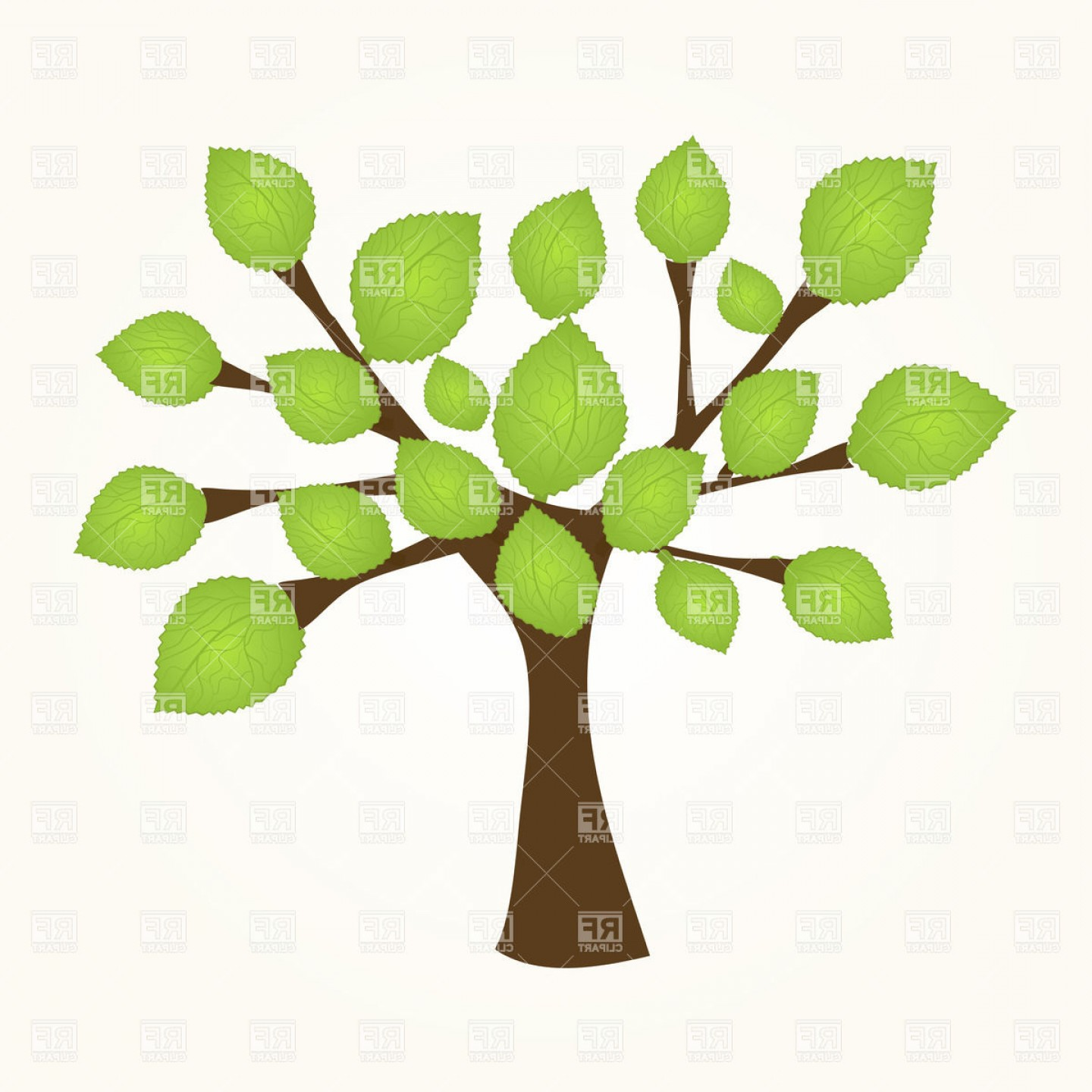 Sapling Vector Tree Silhouette Art: Small Tree Sapling With Green Leaves Vector Clipart