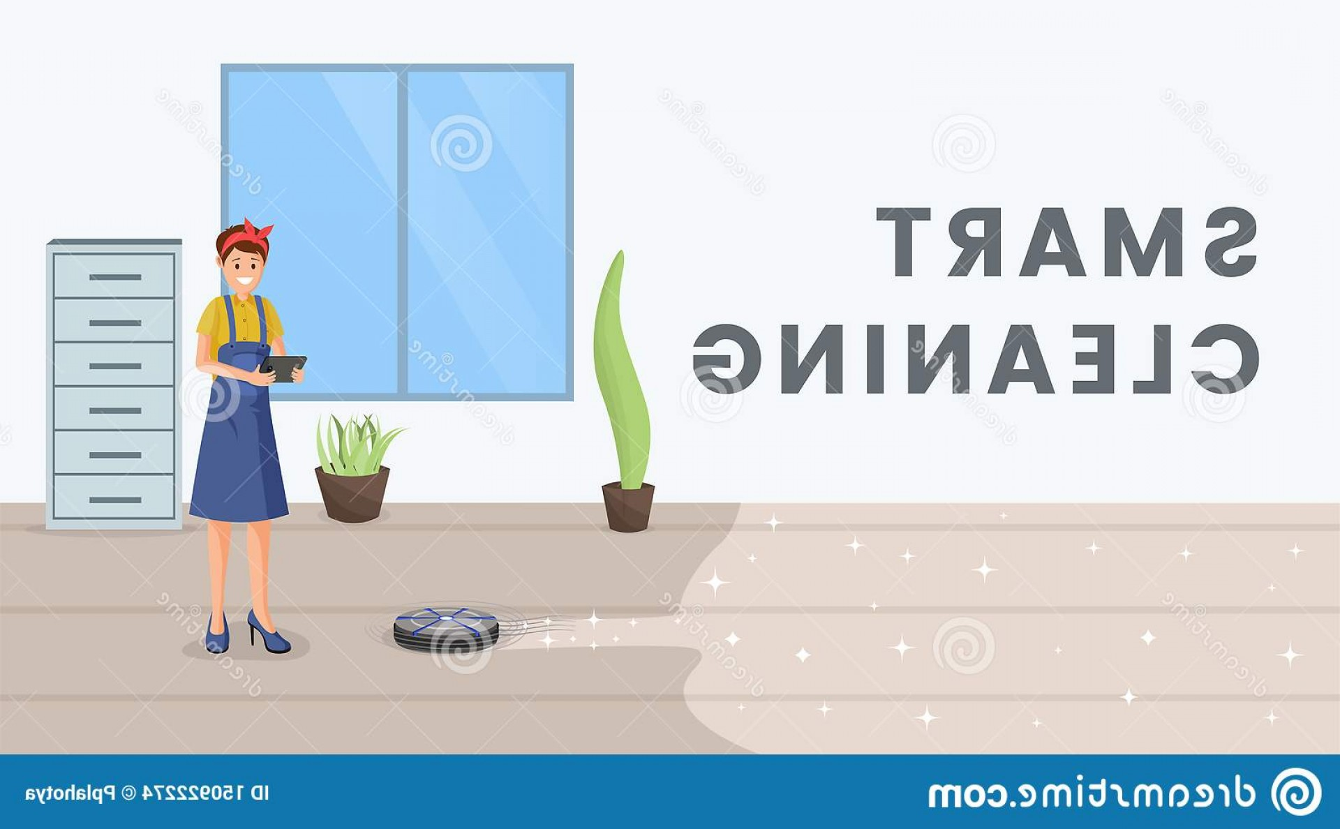 Vector Vacuum Technologies: Smart Cleaning Flat Vector Banner Template Housewife Using Robot Vacuum Cleaner Automatic Household Appliance Cartoon Character Image