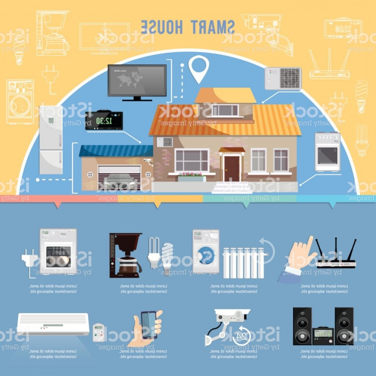 Smart Home Remote Vector: Smart Home Infographic Remote Control Of House Modern Technologies For Household Gm