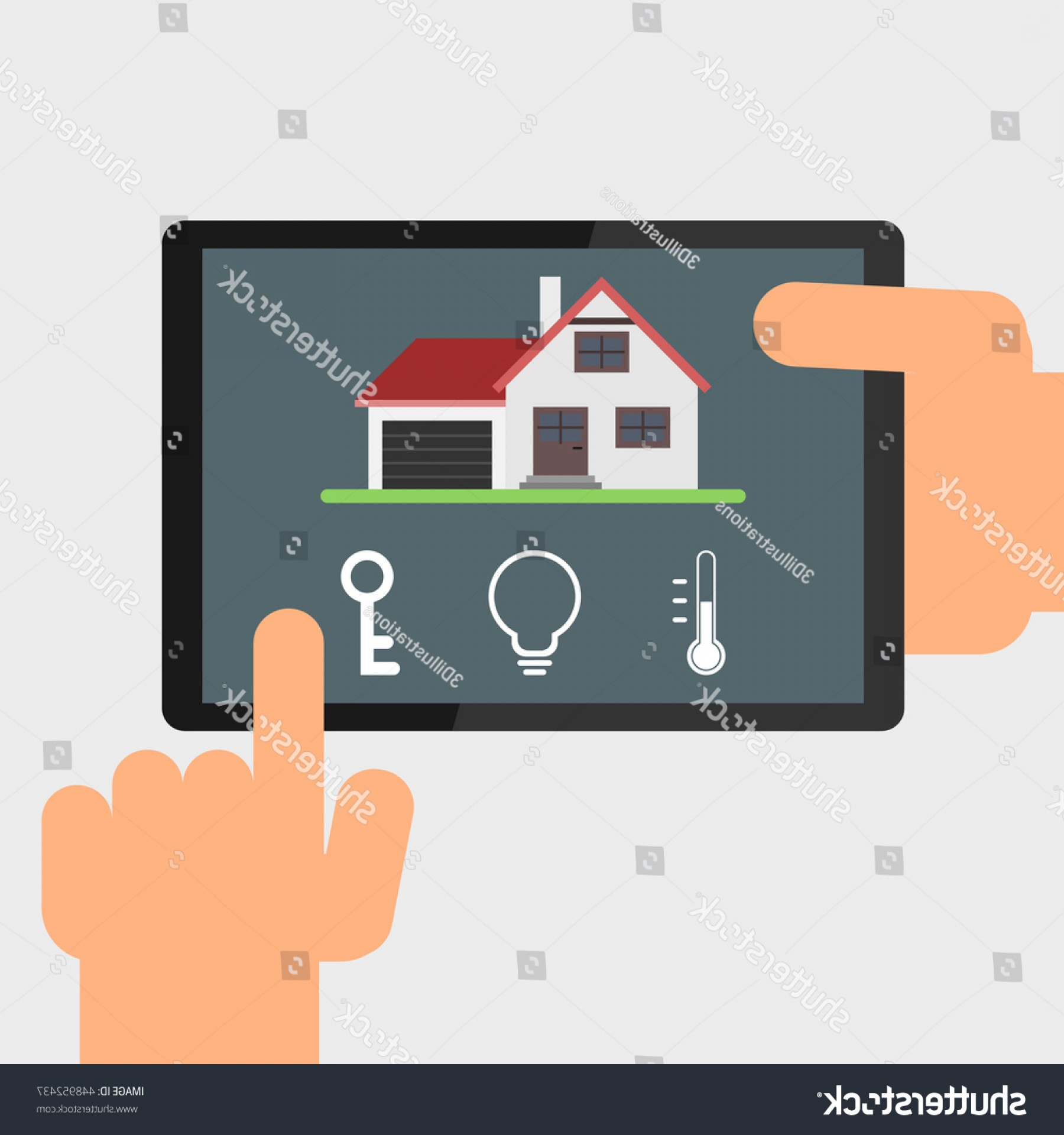 Smart Home Remote Vector: Smart Home Remote Control By Tablet