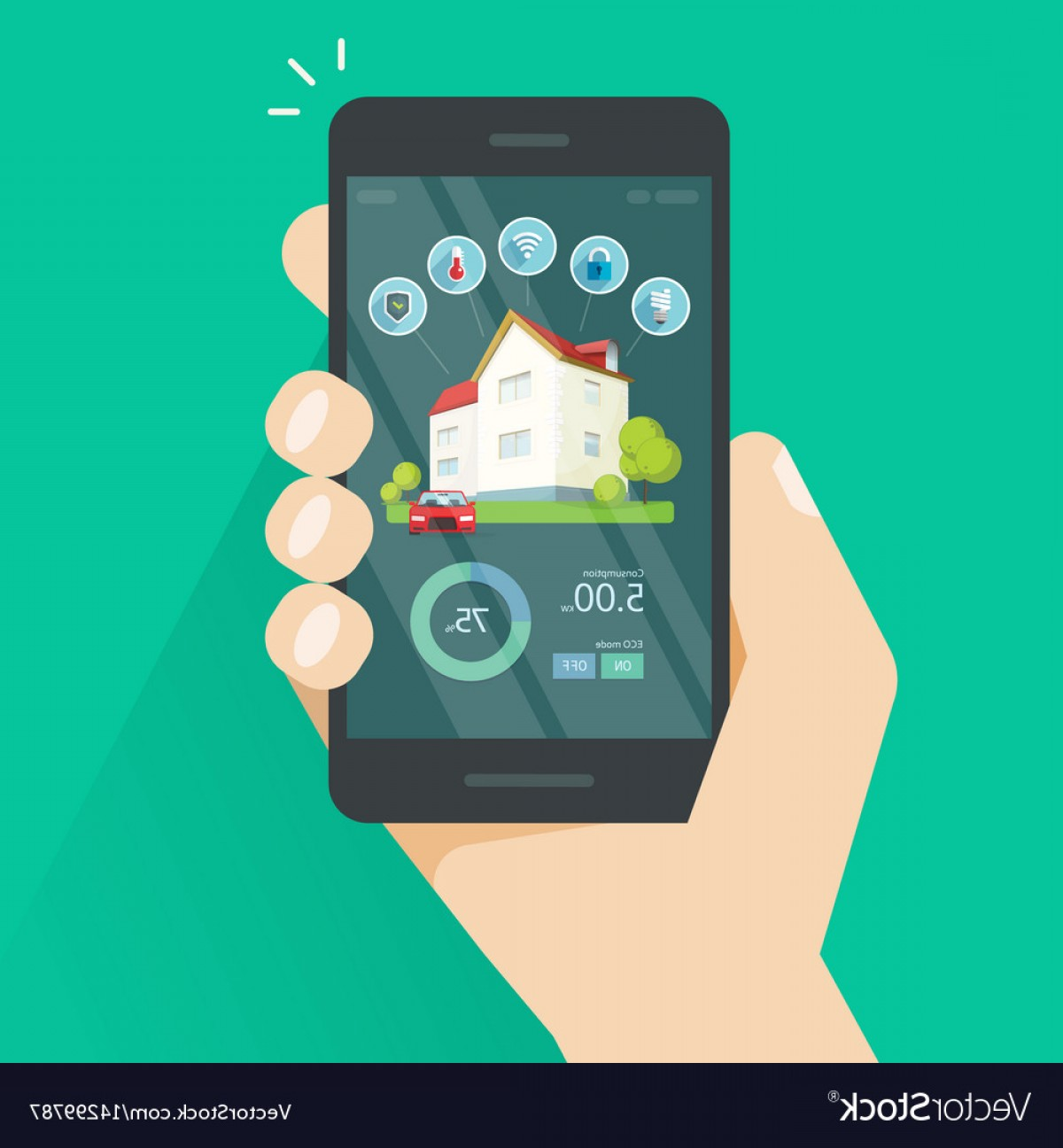 Smart Home Remote Vector: Smart Home Remote Control On Mobile Phone Vector
