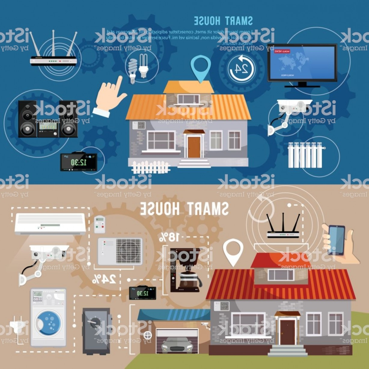 Smart Home Remote Vector: Smart House Design Concept Remote Control Of House Smart Home Infographic Banner Gm