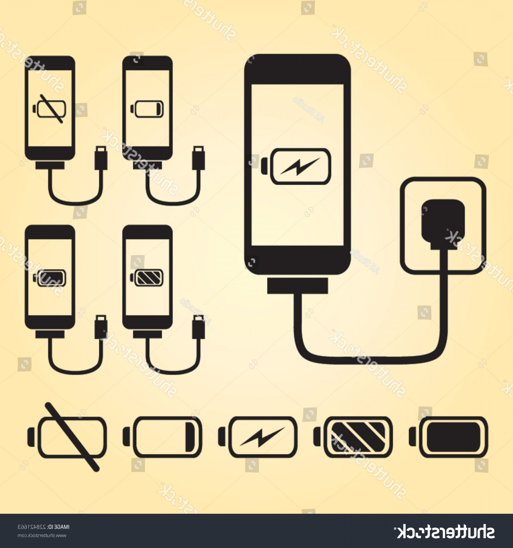 IPhone Battery Vector Icons: Smart Phone Iphone Charge Battery Indicator