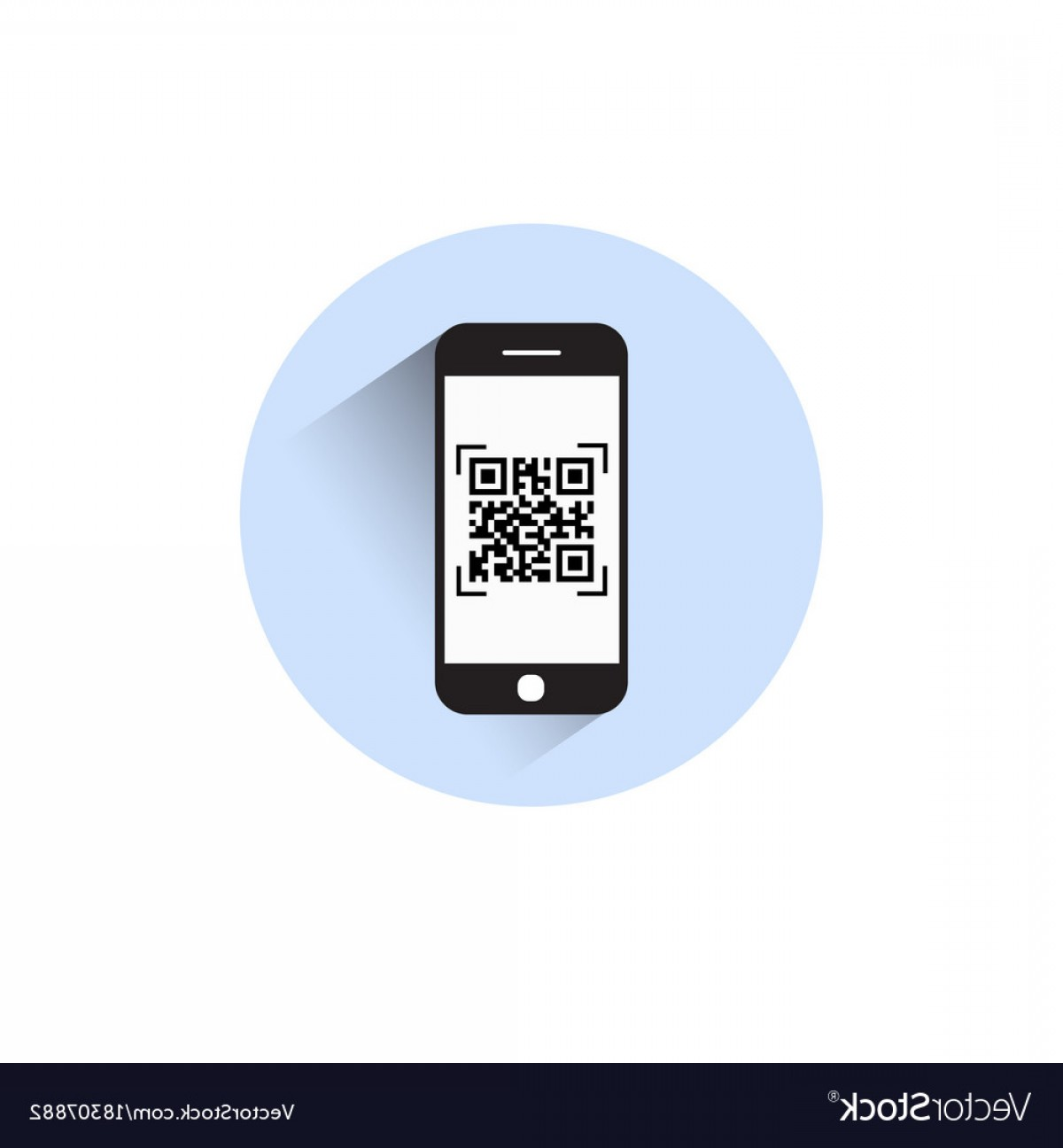 QR Mobile Phone Vector: Smart Phone Scanning Qr Code Icon Barcode Scan Vector