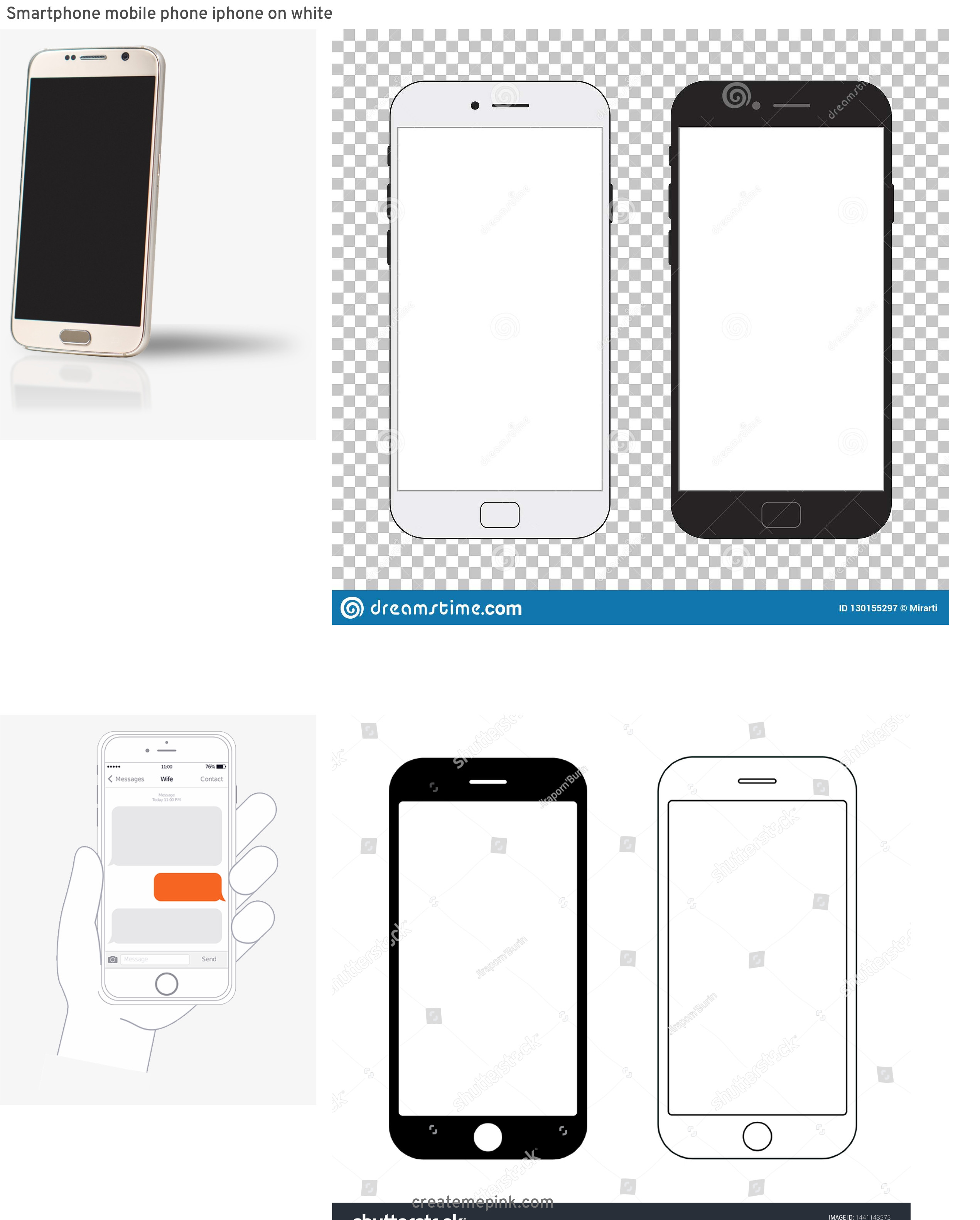 IPhone Vector Transparent Background: Smartphone Mobile Phone Iphone On White