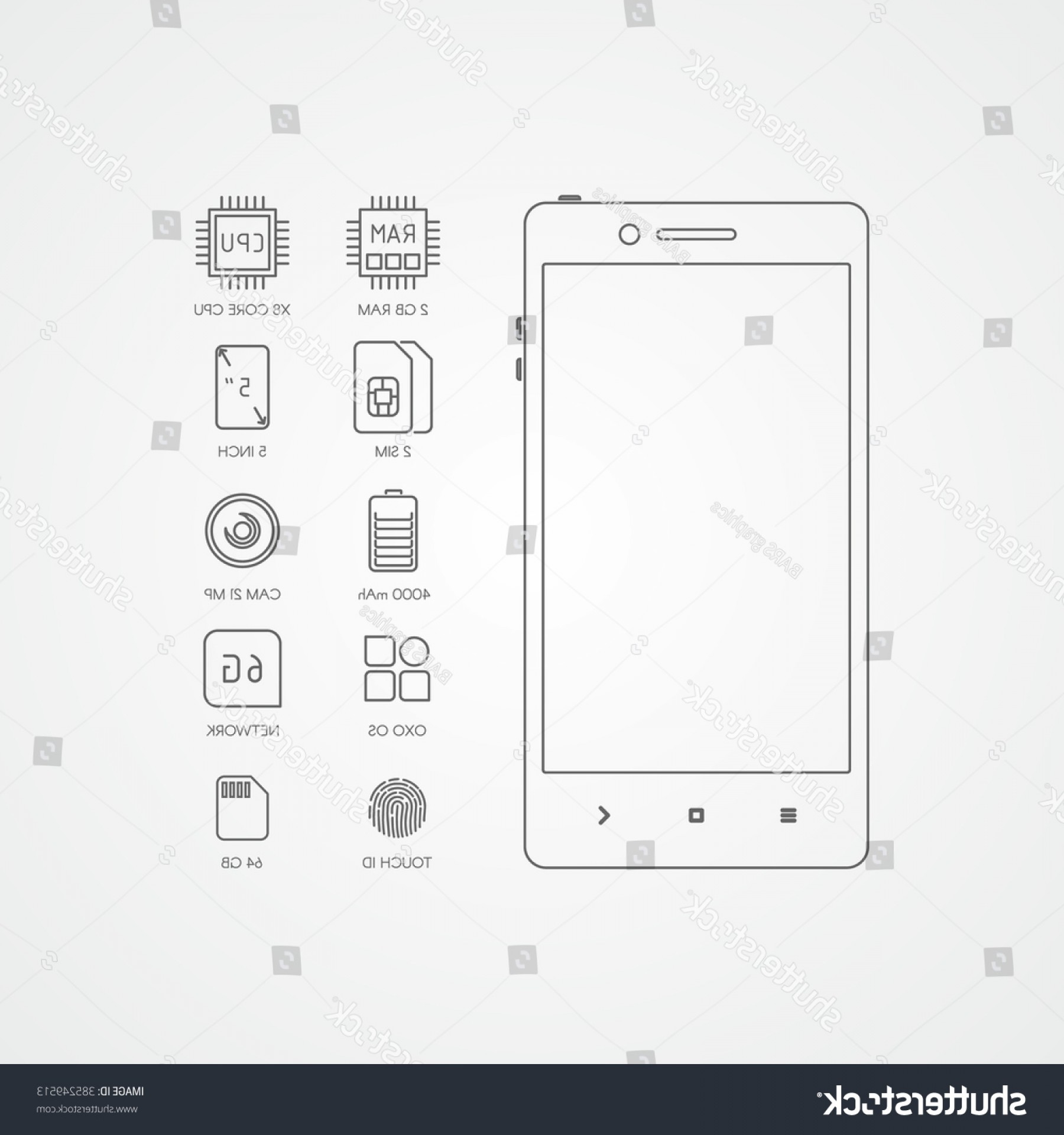 IPhone Battery Vector Icons: Smartphone Specification Flat Line Icons Gadget