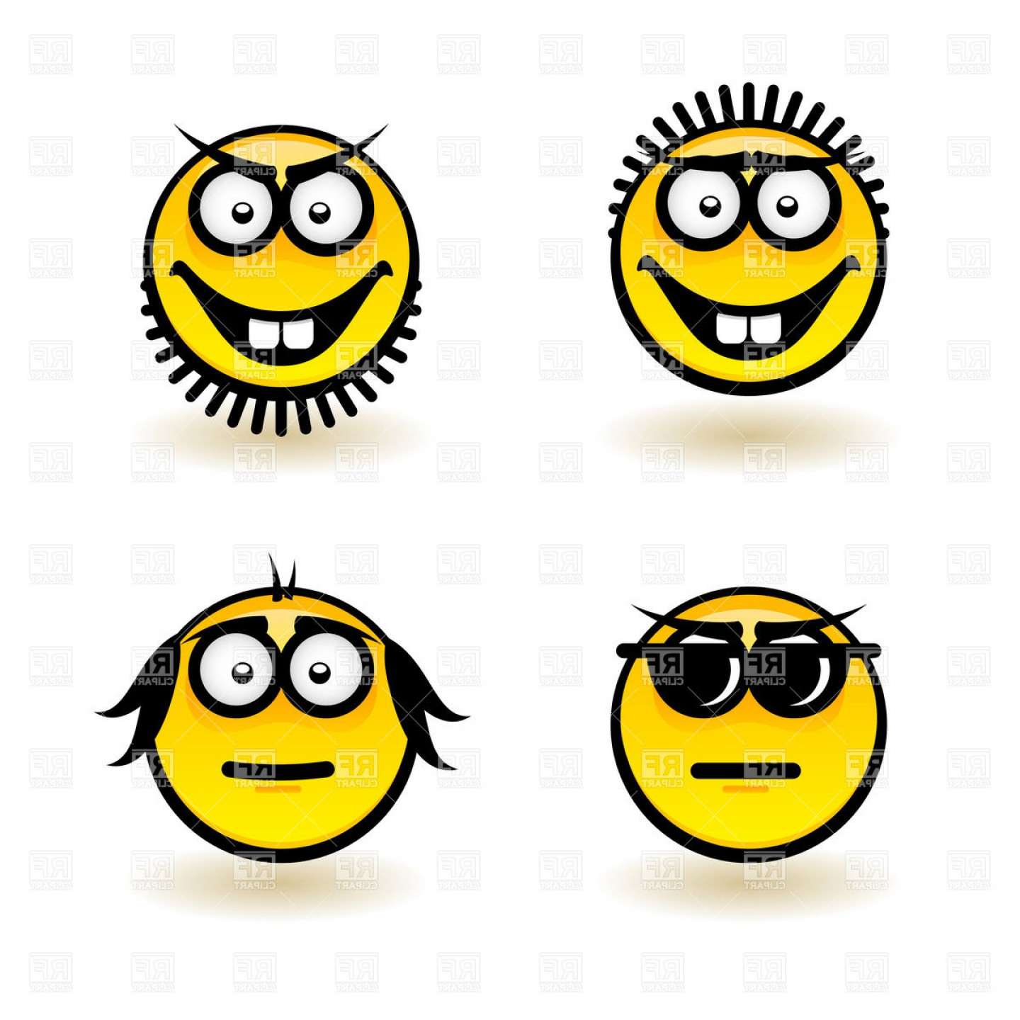 Mad Vector: Smiley Face Icons With Emotions Earnest And Mad Vector Clipart