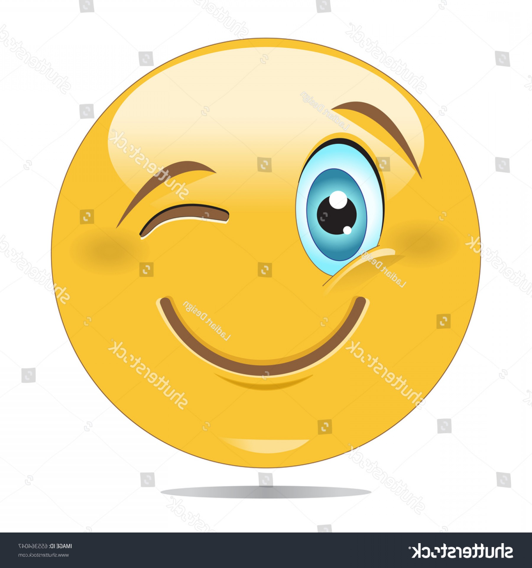 Smiley-Face Winking Vector: Smiley Face Winking Eye Emoticon