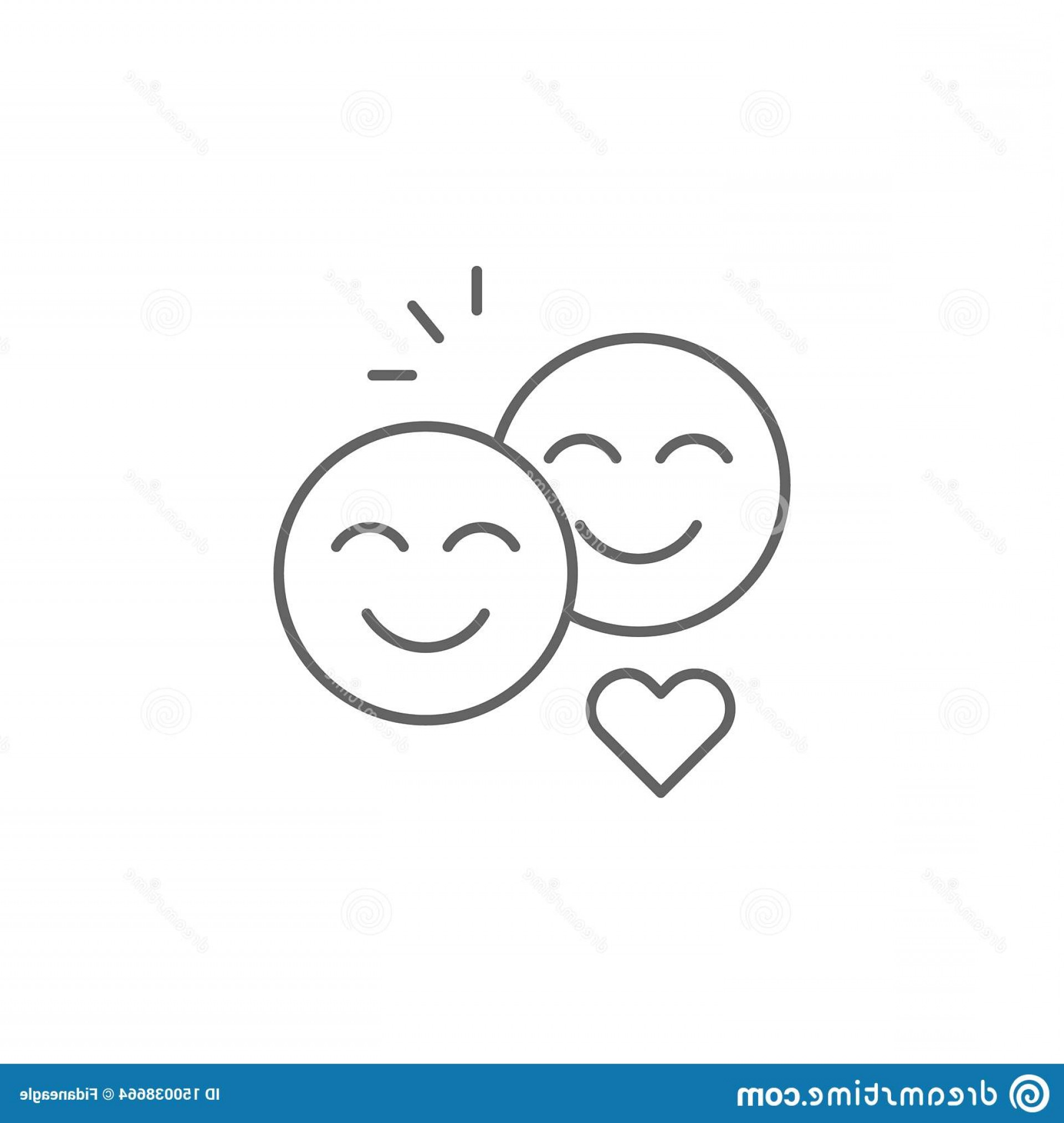 What Are Vectors Used For: Smiley Friendship Outline Icon Elements Line Signs Symbols Vectors Can Be Used Web Logo Mobile App Ui Ux White Image