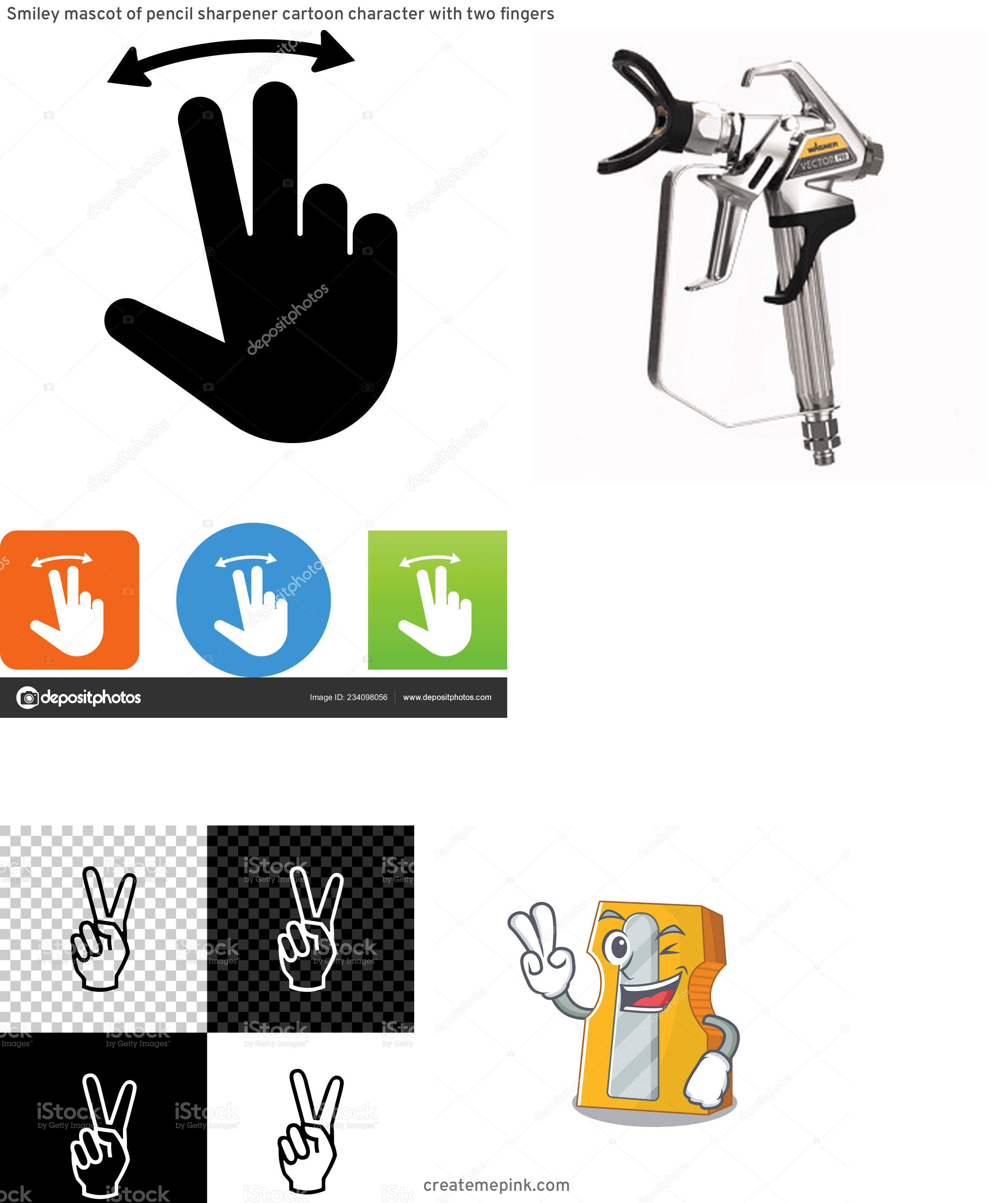 Two Finger Vector: Smiley Mascot Of Pencil Sharpener Cartoon Character With Two Fingers