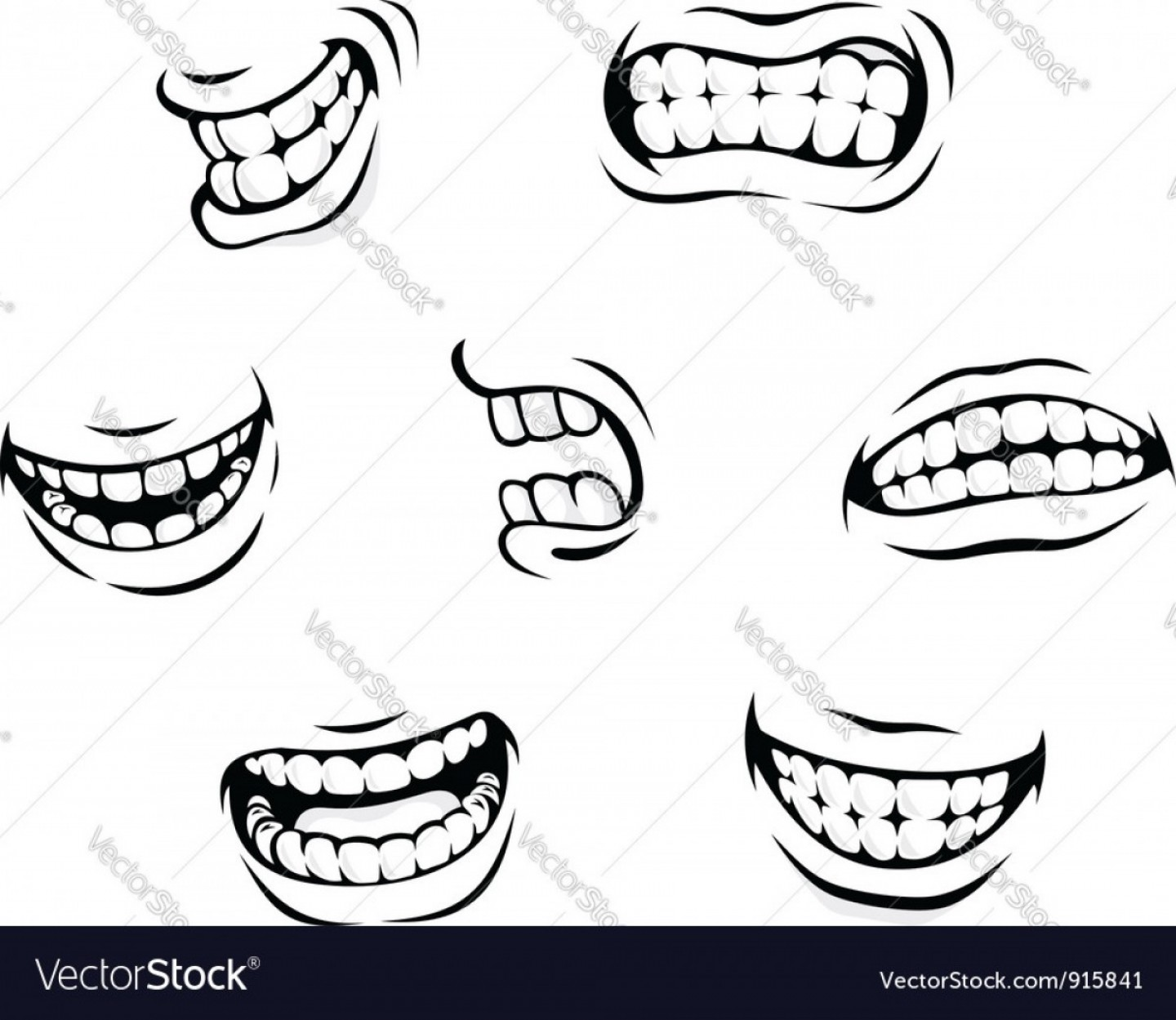 Smile Vector Art: Smiling And Angry Cartoon Teeth Vector