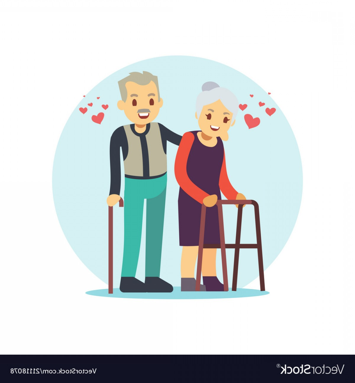 Happy Elderly Vector: Smiling And Happy Old Couple Elderly Family In Vector