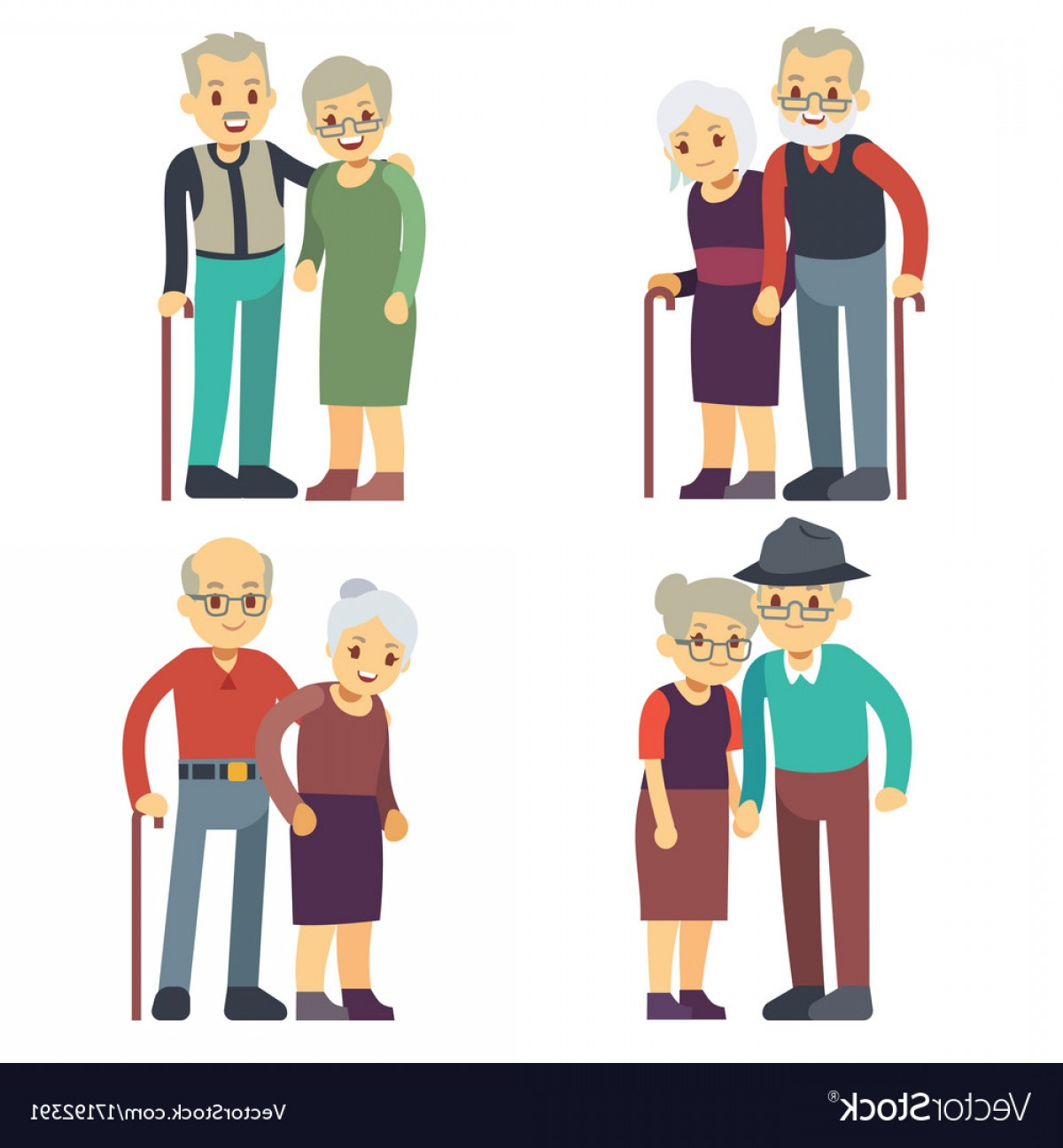 Happy Elderly Vector: Smiling And Happy Old Couples Elderly Families Vector
