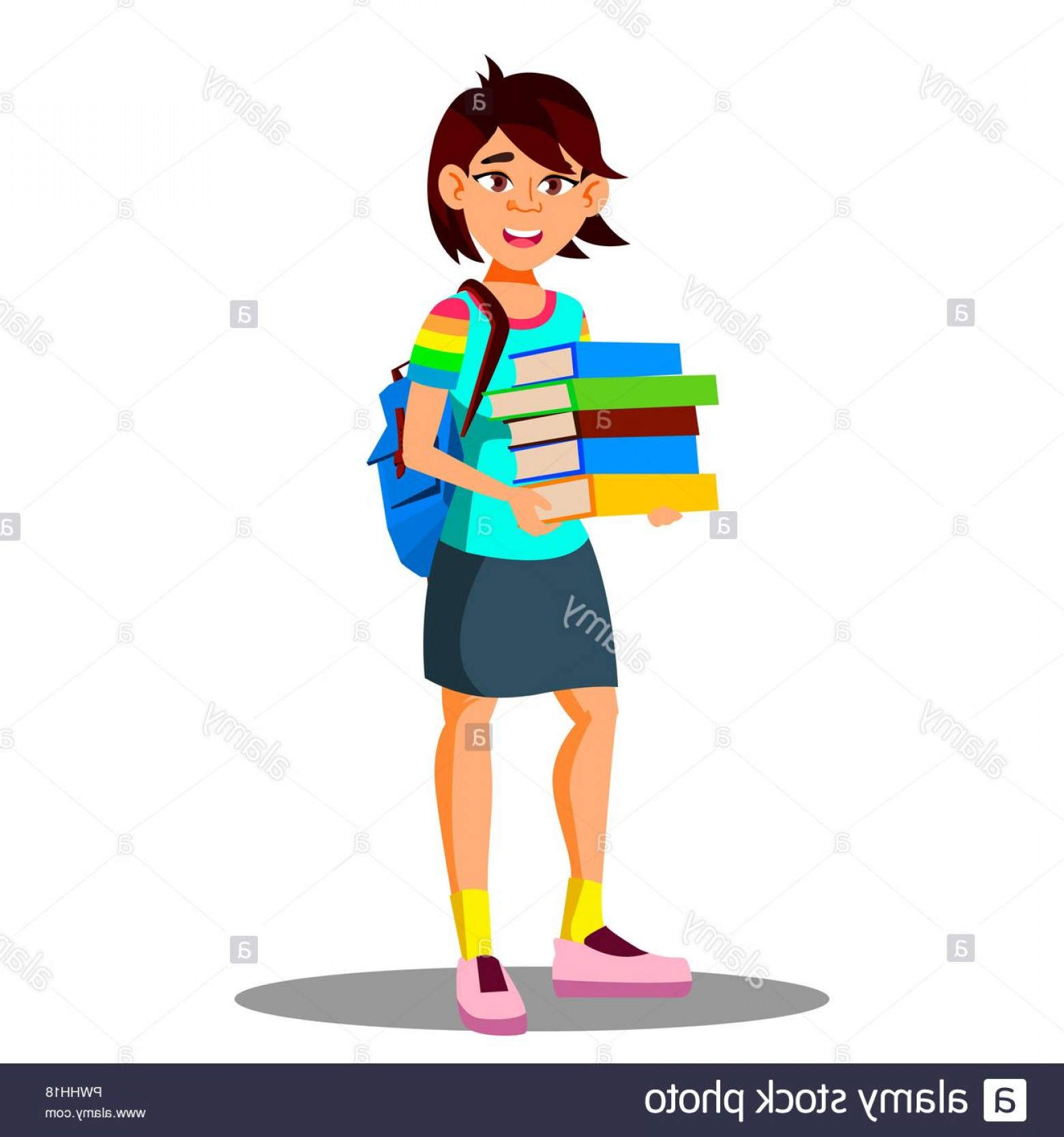 Asian Student Vector: Smiling Asian Girl Student Holding Books In Hand Vector Isolated Illustration Image