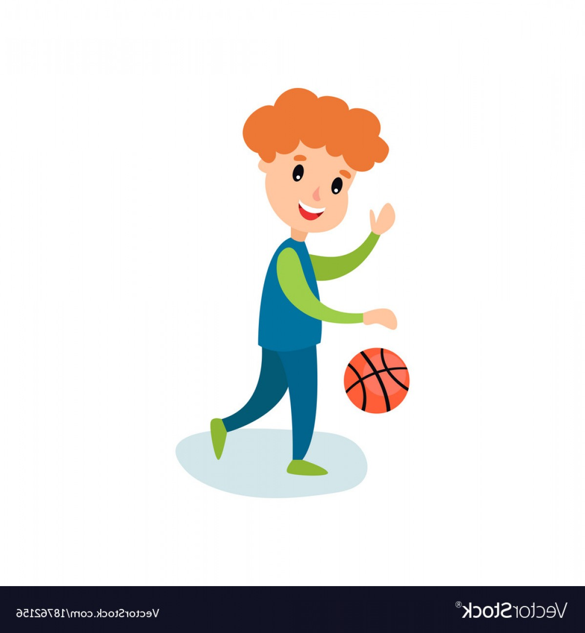 Cartoon Basketball Vector: Smiling Little Boy Character Playing Basketball Vector