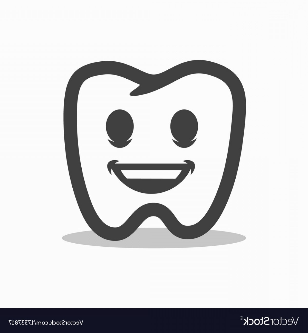 Tooth Outline Vector: Smiling Outline Tooth Icon Modern Design Vector