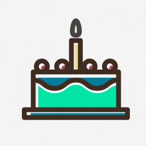 Pastel Birthday Cake Vector: Small Cartoon Birthday Cake Vector Icon Graphics