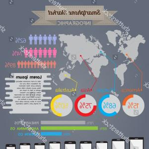 Expanding Population Icon Vector: Smartphone Marketing Infographic Mobile Display Vector