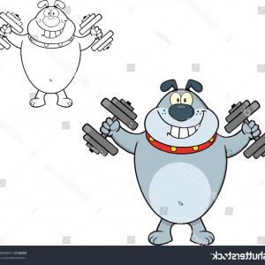 Vector Smiling Bulldog: Smiling Gray Bulldog Cartoon Character Training