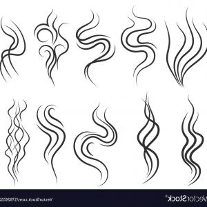 Stream Line Vector Field: Smoke And Steam Smell Lines Gas Icon Aroma Flow Vector
