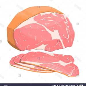 Meat Fat Vector: Smoked Ham Isolated Piece Of Delicious Pork Bacon Meat Gourmet Product Vector Illustration In Flat Style Image