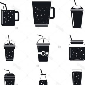 Juice Vector Black: Smoothie Milkshake Fruit Juice Icons Set Simple Illustration Of Smoothie Milkshake Fruit Juice Vector Icons For Web Image