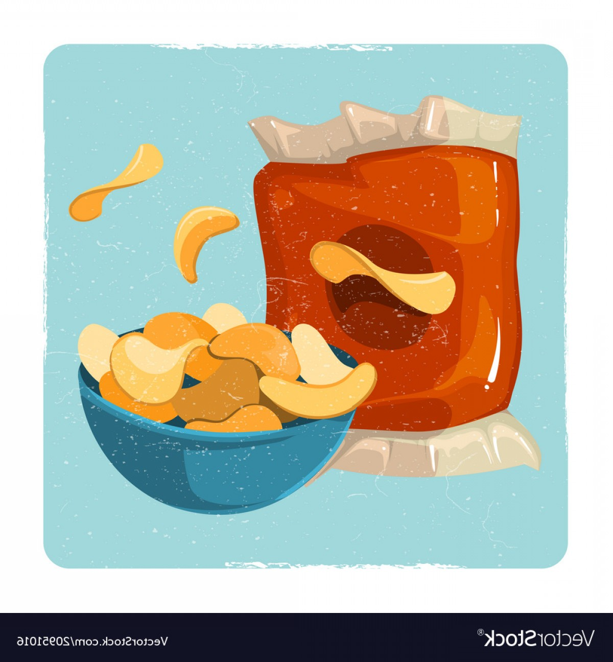 Snack Vector: Snack Vintage Card With Chips Vector