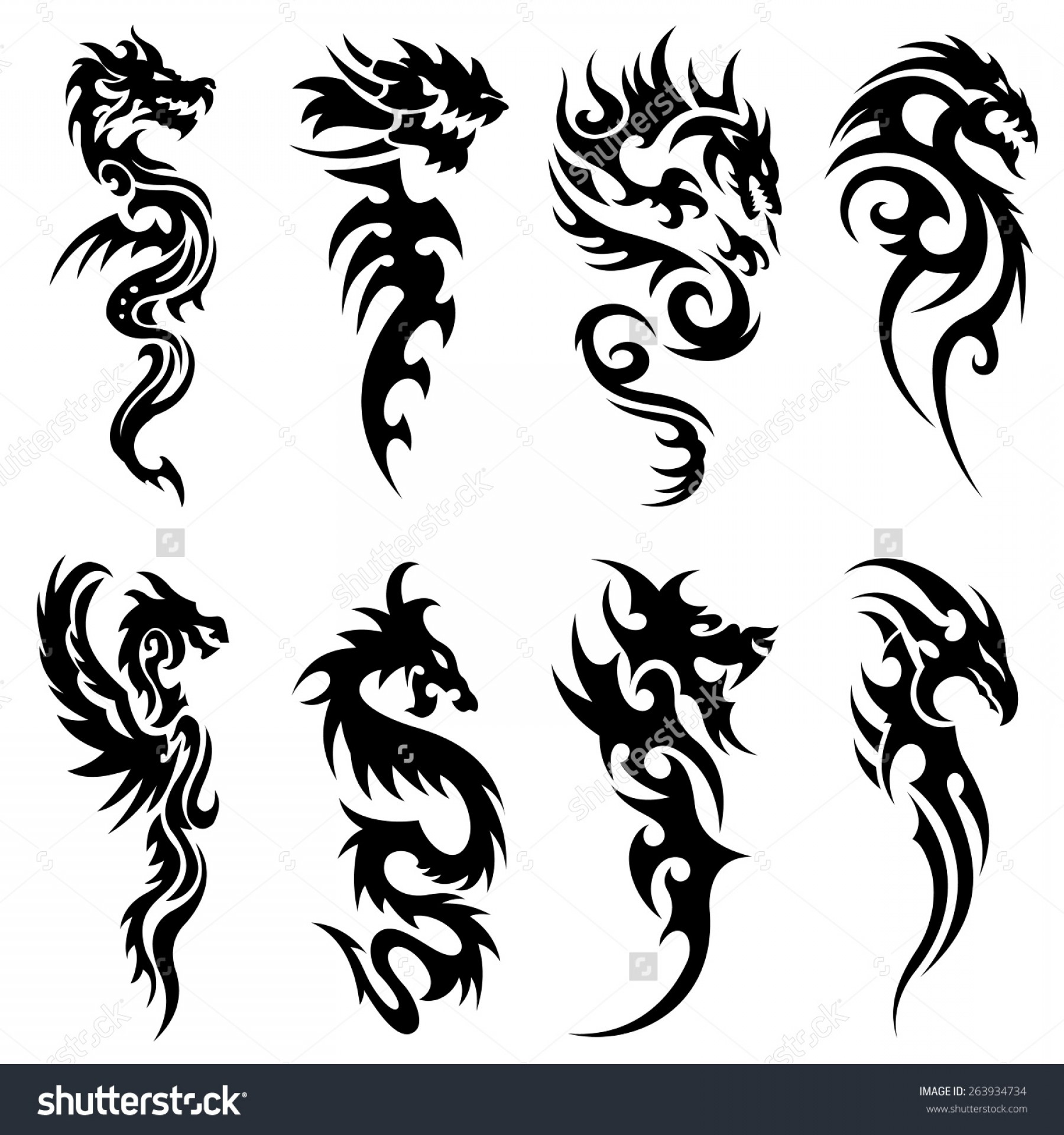 Vector Tribal Tattoo Sleeve: Snake And Dragon Tattoo Tribal Tattoo Snake Dragon Set Design Stock Vector