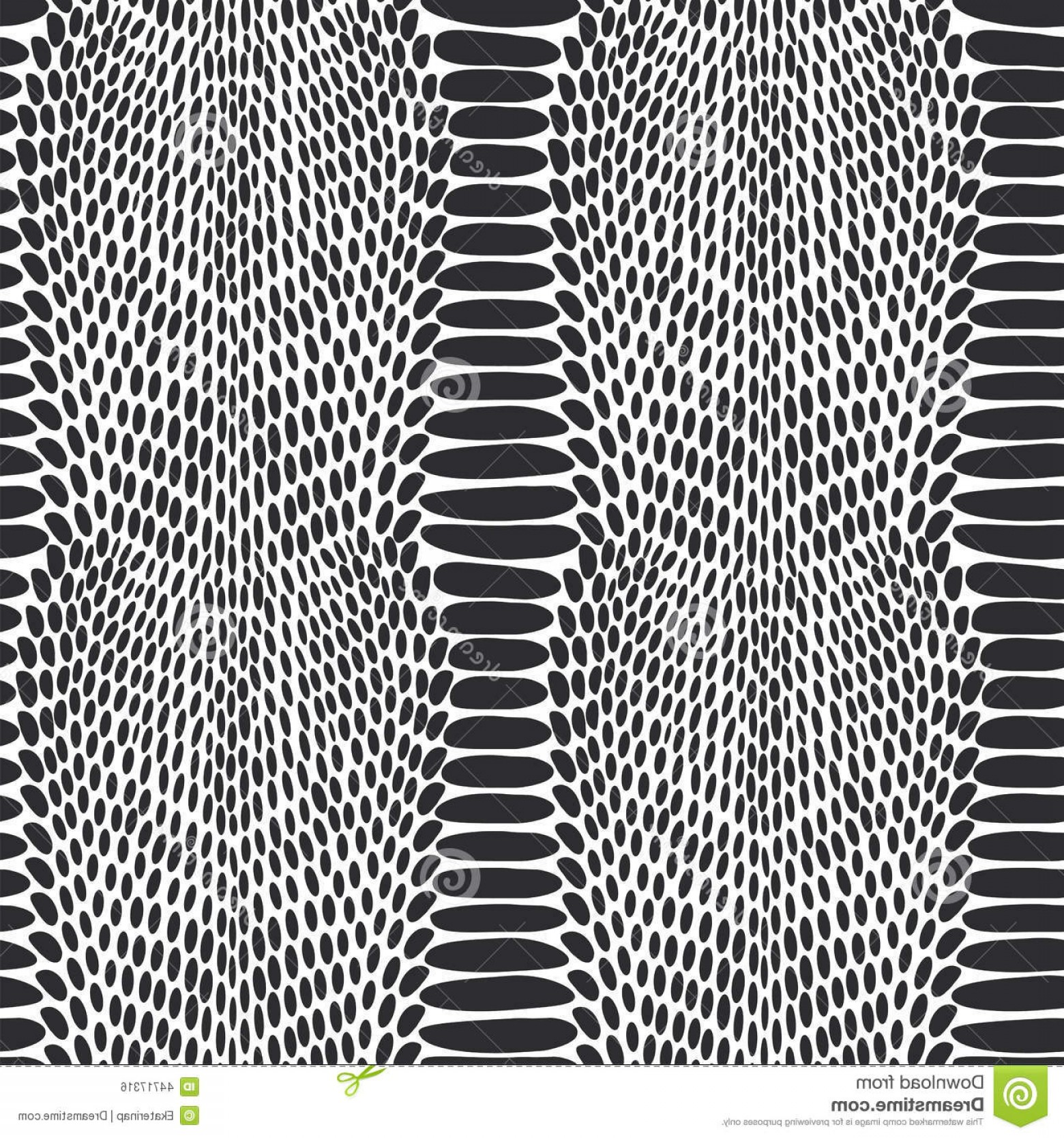 Rattlesnake Skin Vector: Snake Skin Texture Seamless Pattern Black On White Background Illustration