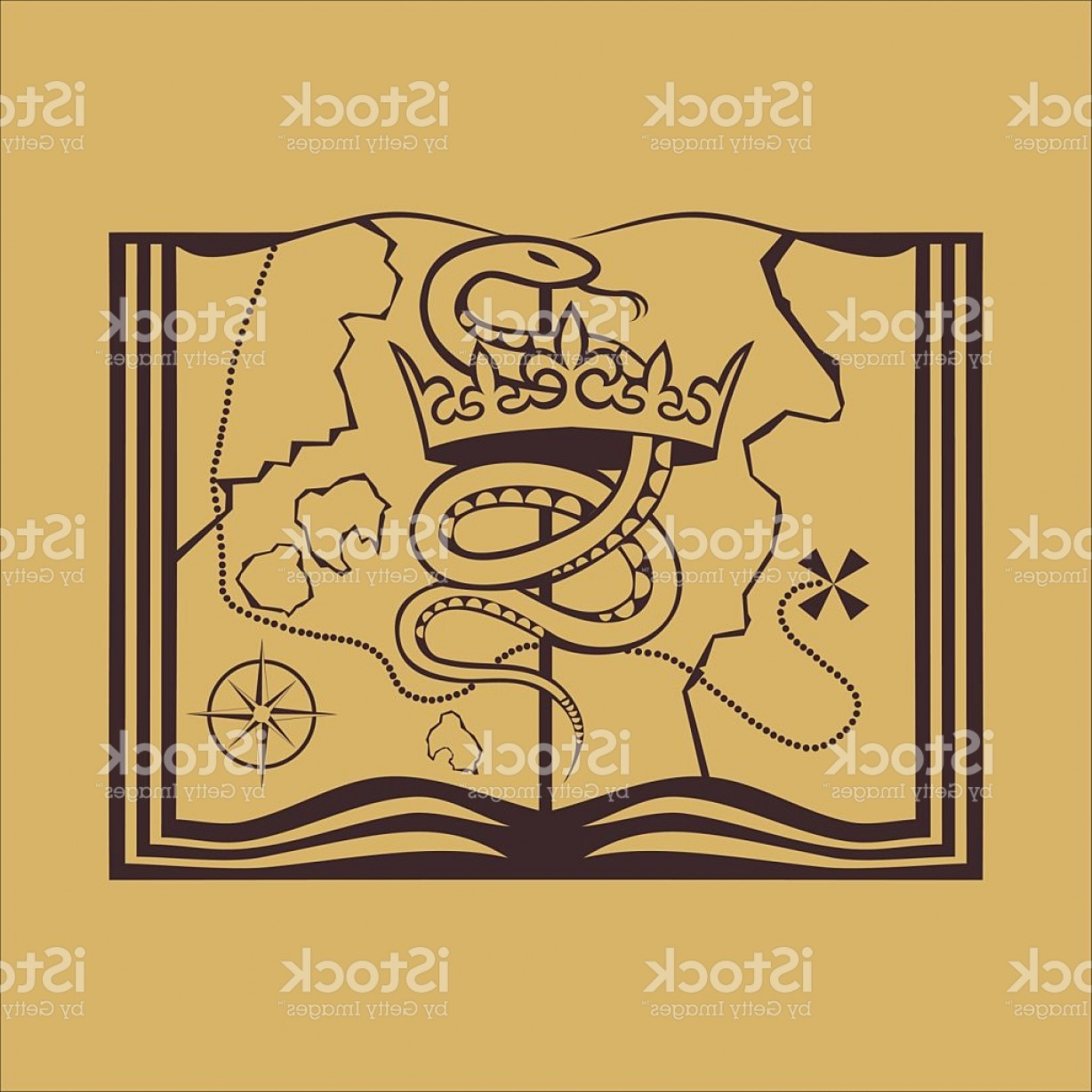 Snake Crown Vector: Snake With Crown On The Treasure Map Gm
