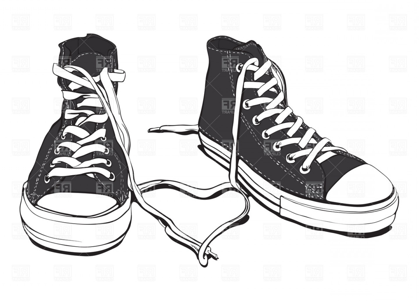 Sneaker Silhouette Vector: Sneakers With Lovely Heart Vector Clipart