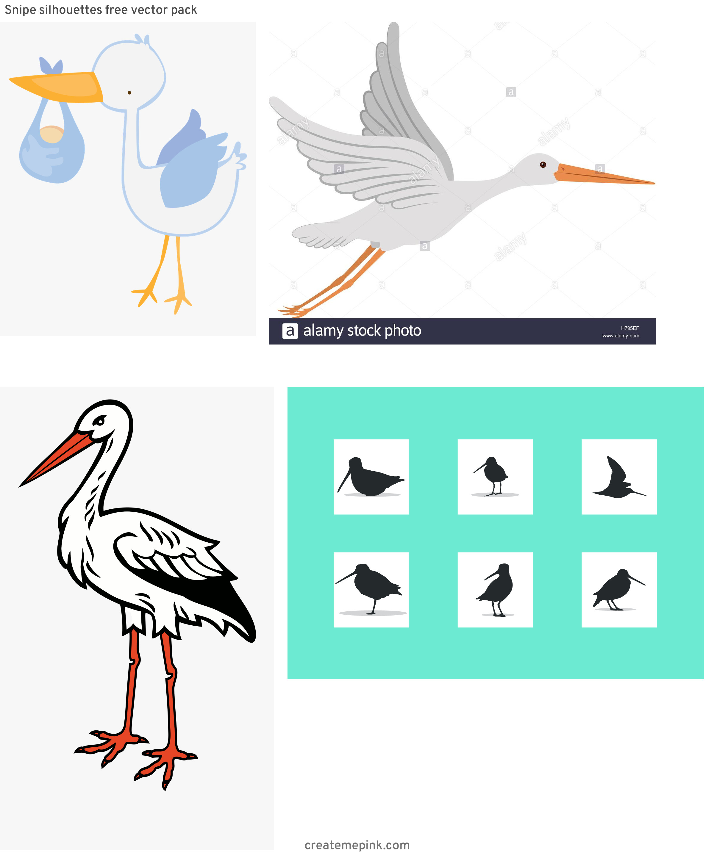 Cartoon Stork Vector Silhouette: Snipe Silhouettes Free Vector Pack