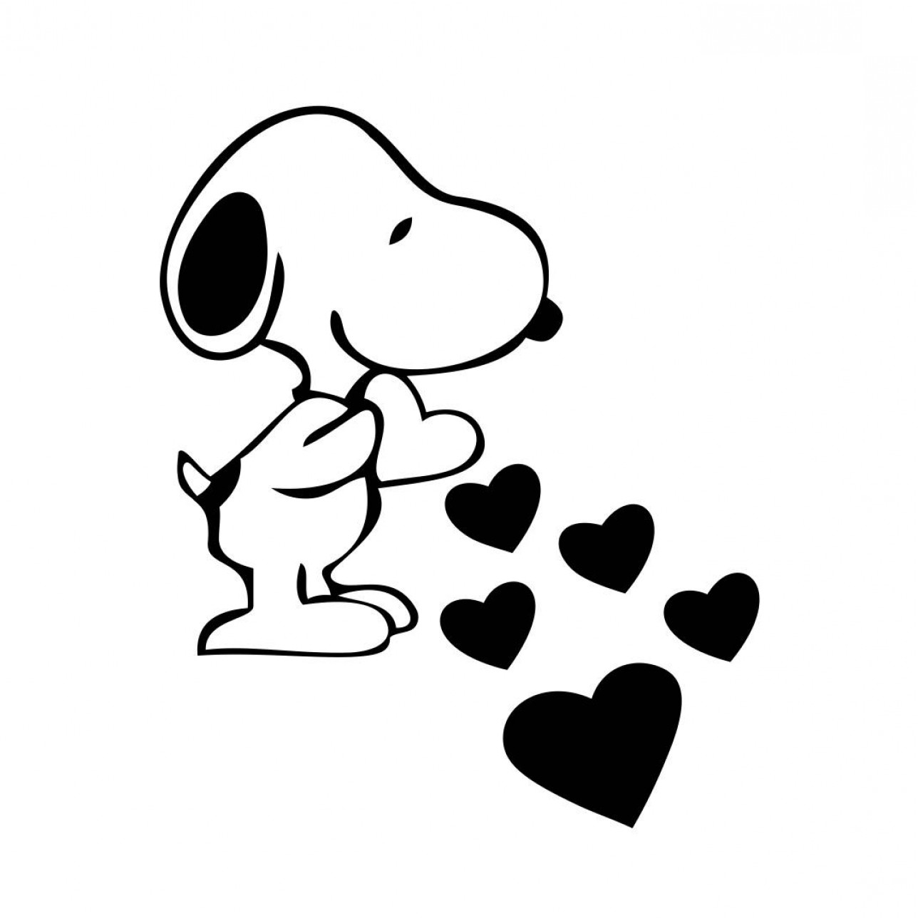Snoopy Vector Graphic: Snoopy Love Hearts Graphics Svg Dxf Eps