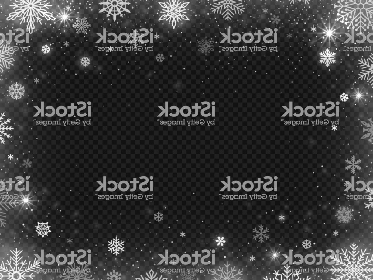 Frost Border Vector: Snowed Border Frame Christmas Holiday Snow Clear Frost Blizzard Snowflakes And Gm