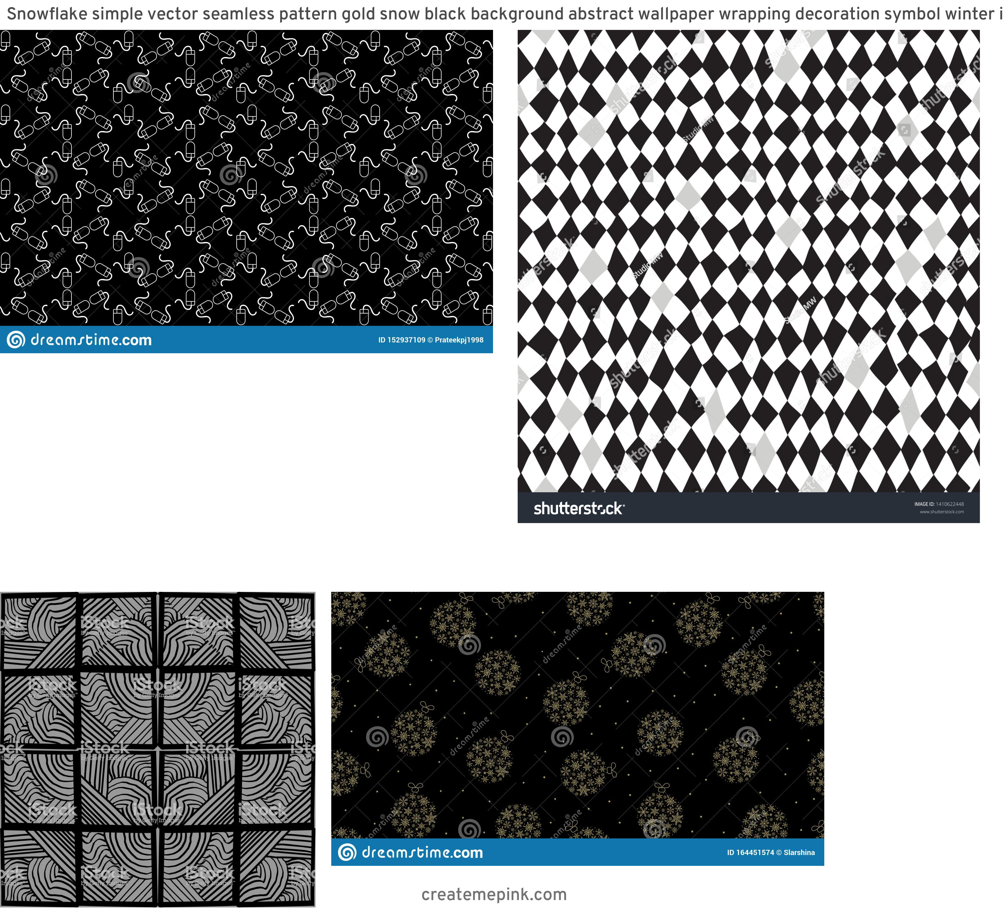 Simple Black Decorative Vector Patterns: Snowflake Simple Vector Seamless Pattern Gold Snow Black Background Abstract Wallpaper Wrapping Decoration Symbol Winter Image