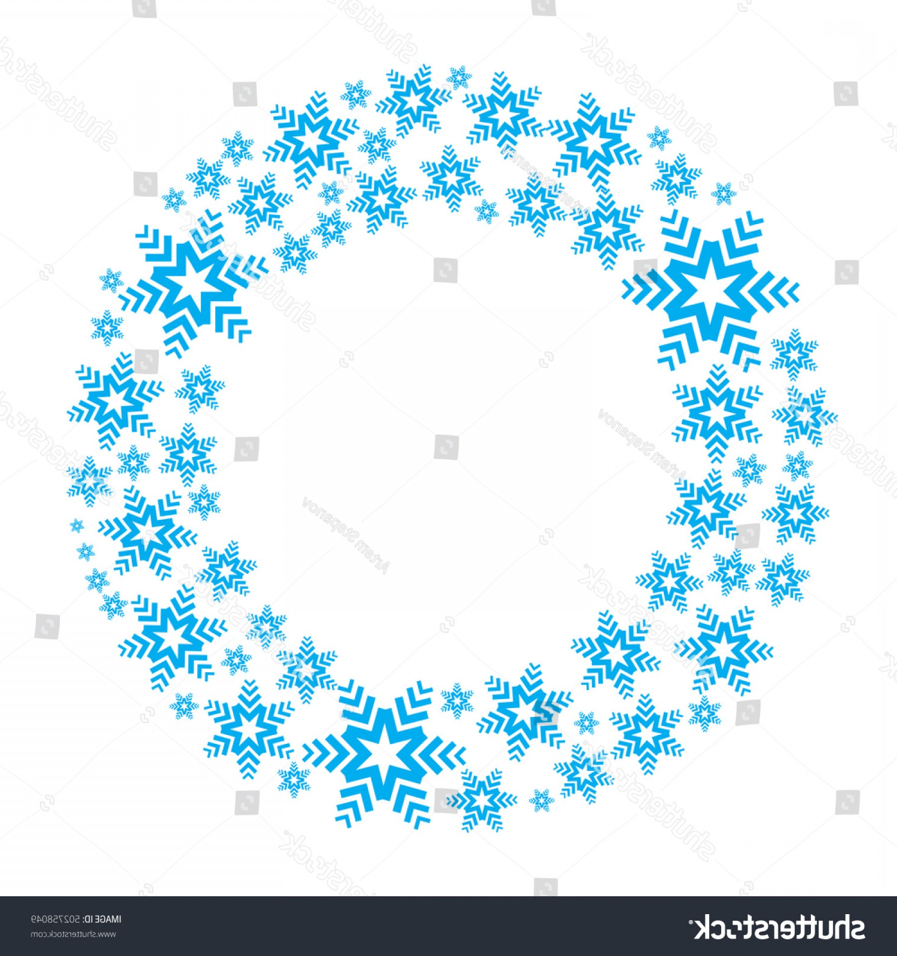 Vector Snowflake Wreath: Snowflake Vector Wreath Isolated Snow Flake