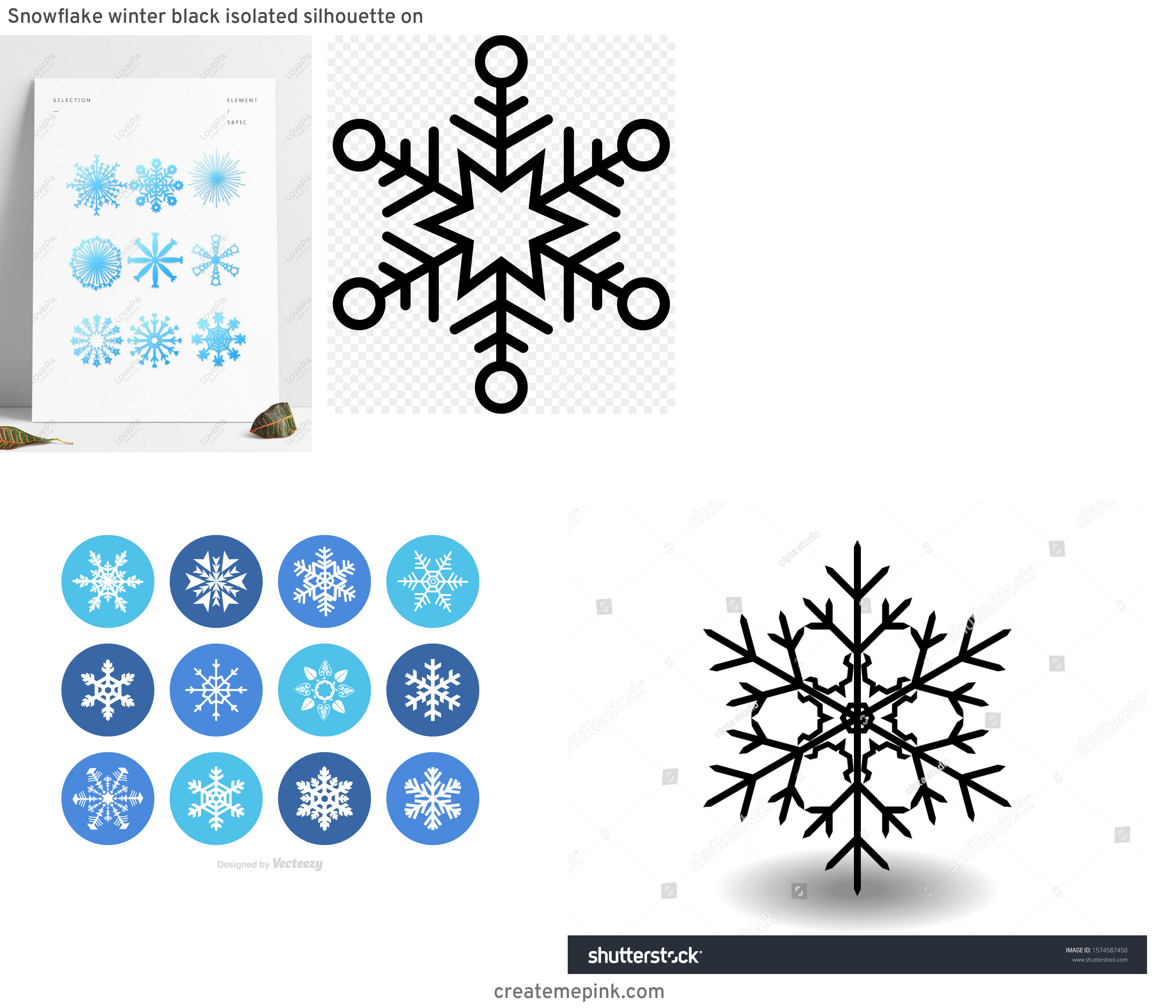 Free Vector Snow Flakes: Snowflake Winter Black Isolated Silhouette On