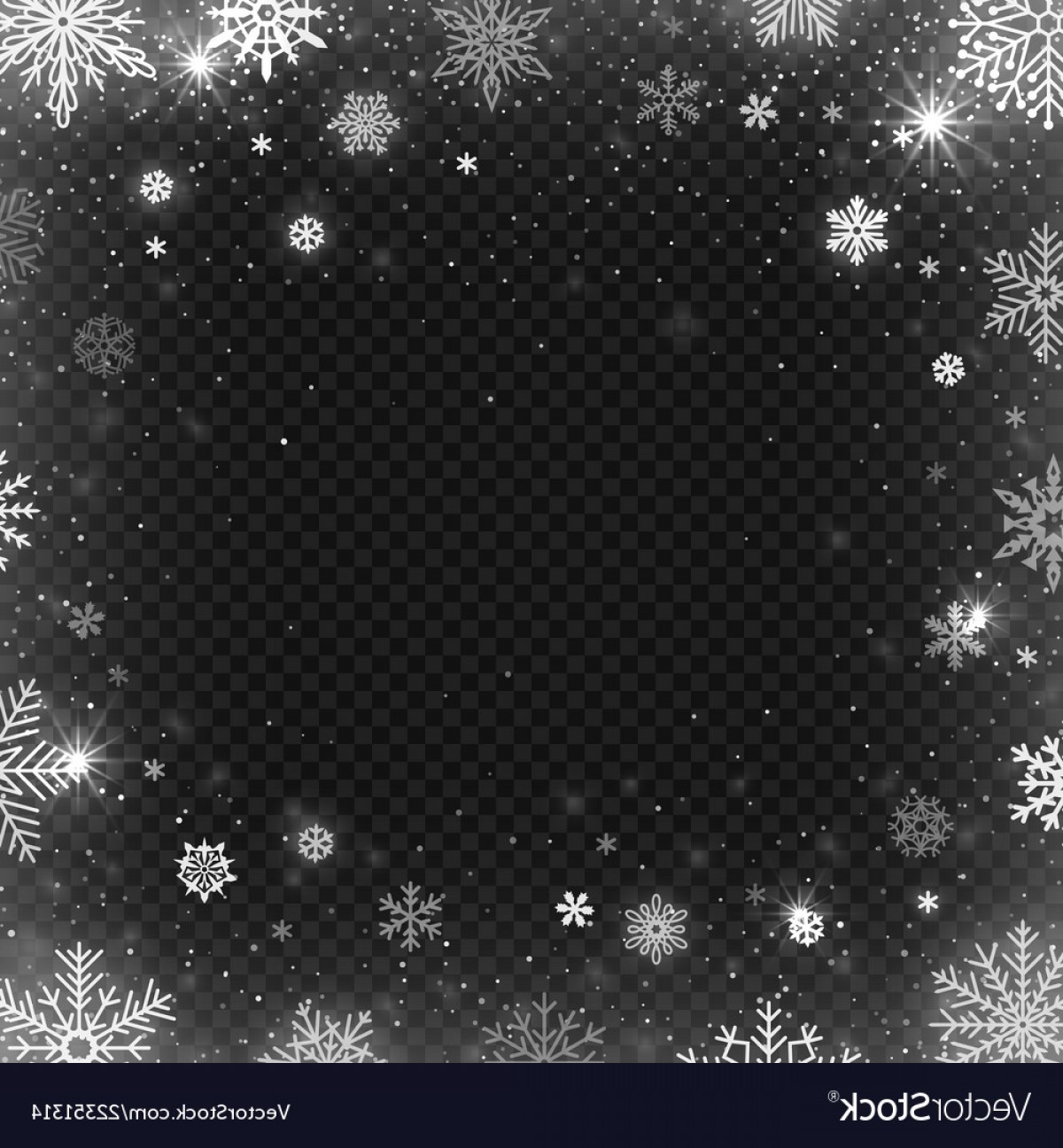 Frost Border Vector: Snowflakes Frame Winter Snowed Border Frost Vector