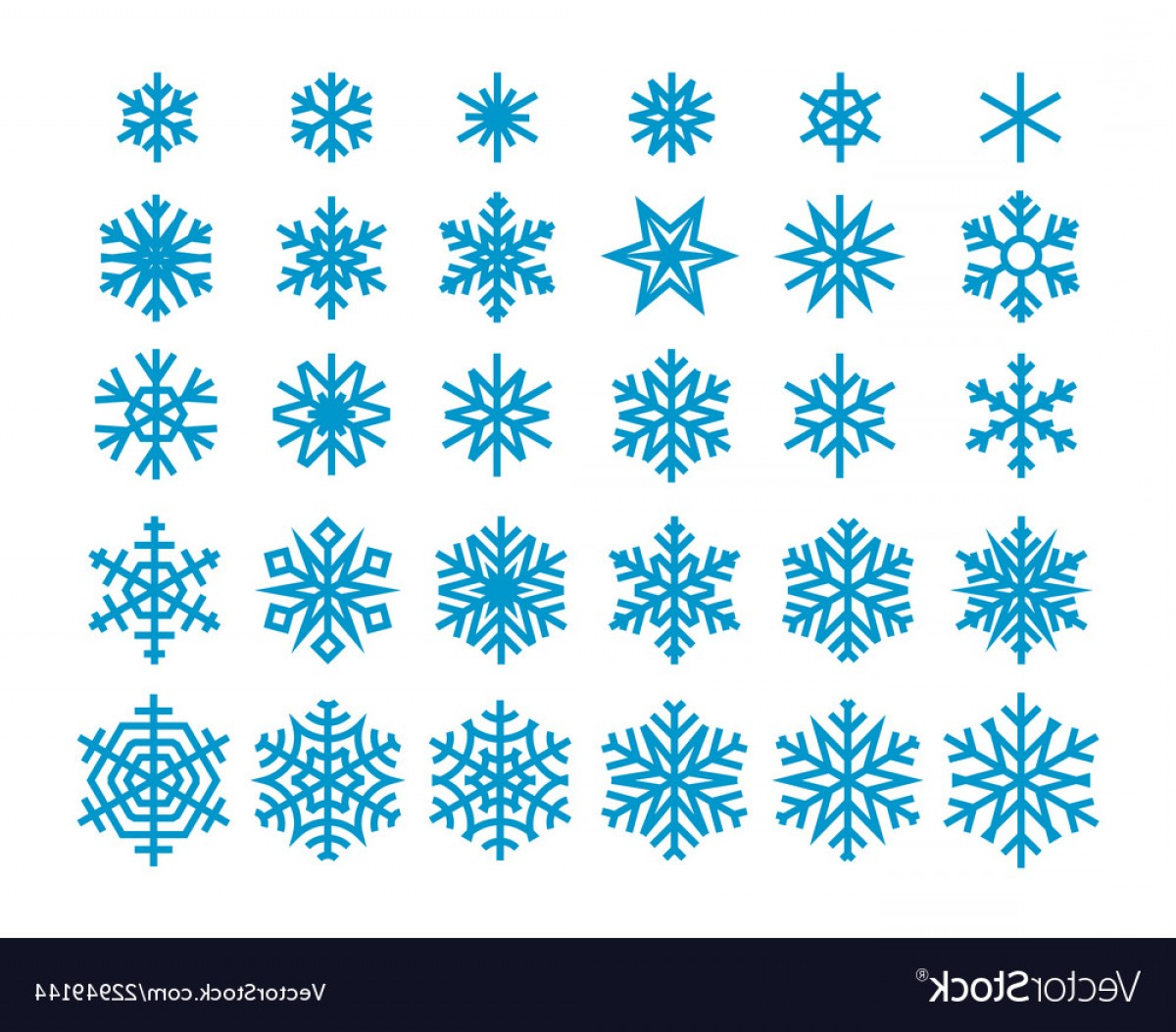 White Snowflake Vector Art: Snowflakes Isolated On White Background Clipart Vector