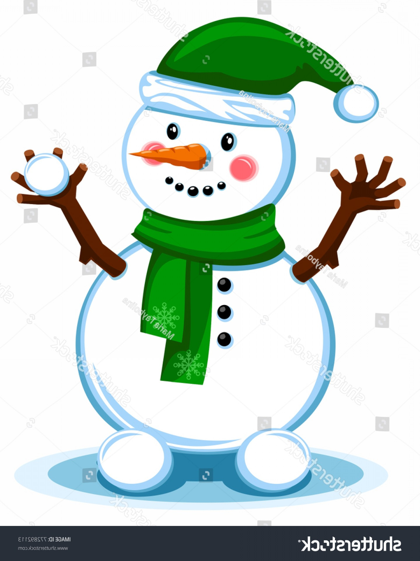 No Hat With Snowman Vector: Snowman Green Hat Scarf Merry Christmas