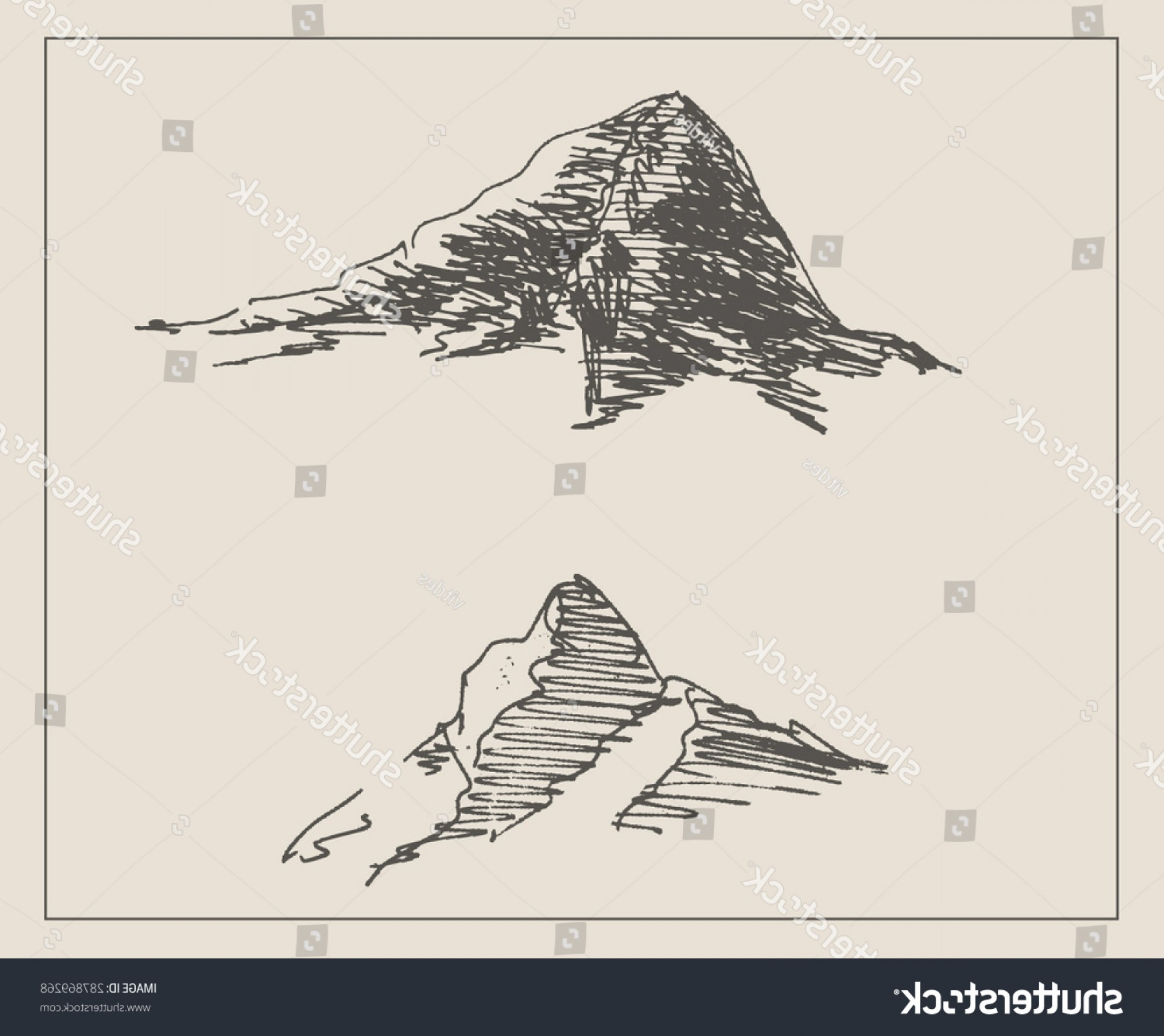 Rocky Mountain Line Art Vector: Snowy Rocky Mountain Scenery Sketch Hand