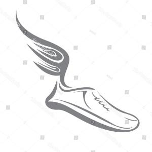 Track Winged Foot Vector: And Black Art Football White Field Vector