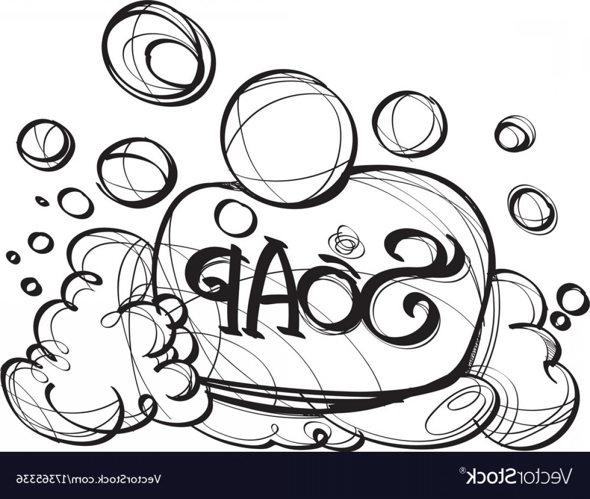 Vector Art Black And White Bubbles: Soap With Foam Hand Drawing Black And White Vector