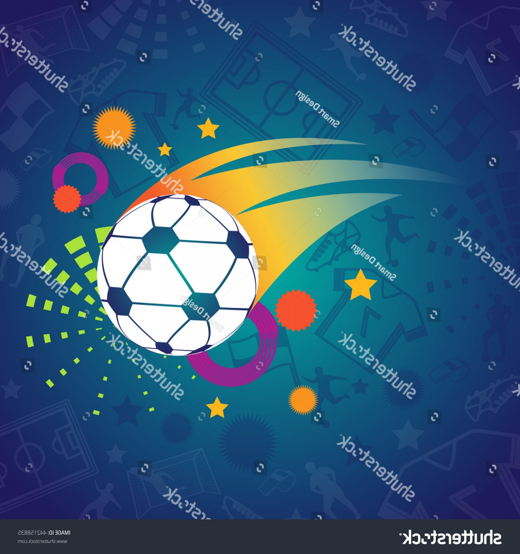 Soccer Blue Background Vector Graphics: Soccer Abstract Blue Background Football
