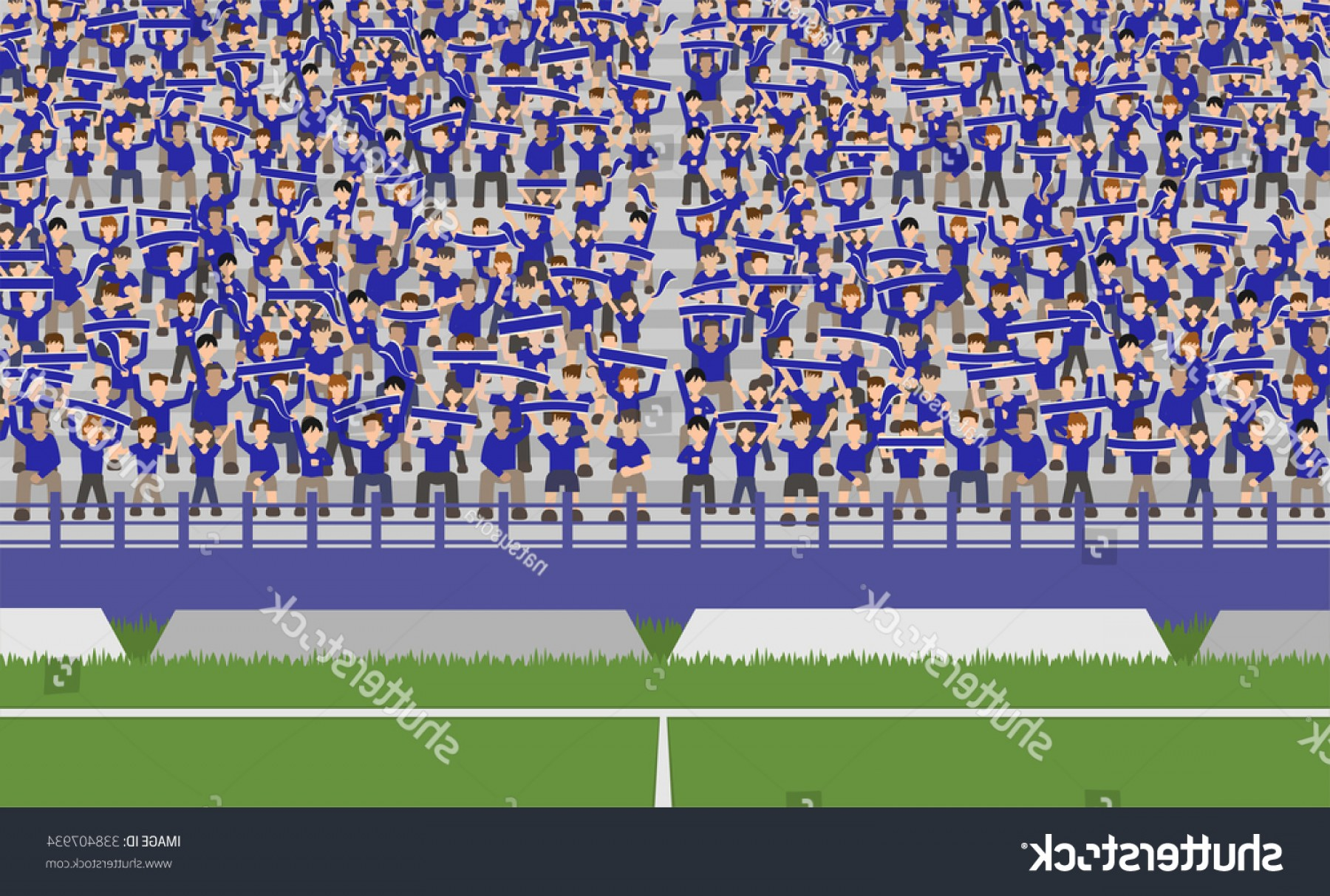 Vector Sports Crowd Cheering: Soccer Field Crowd Blue Team Cheering