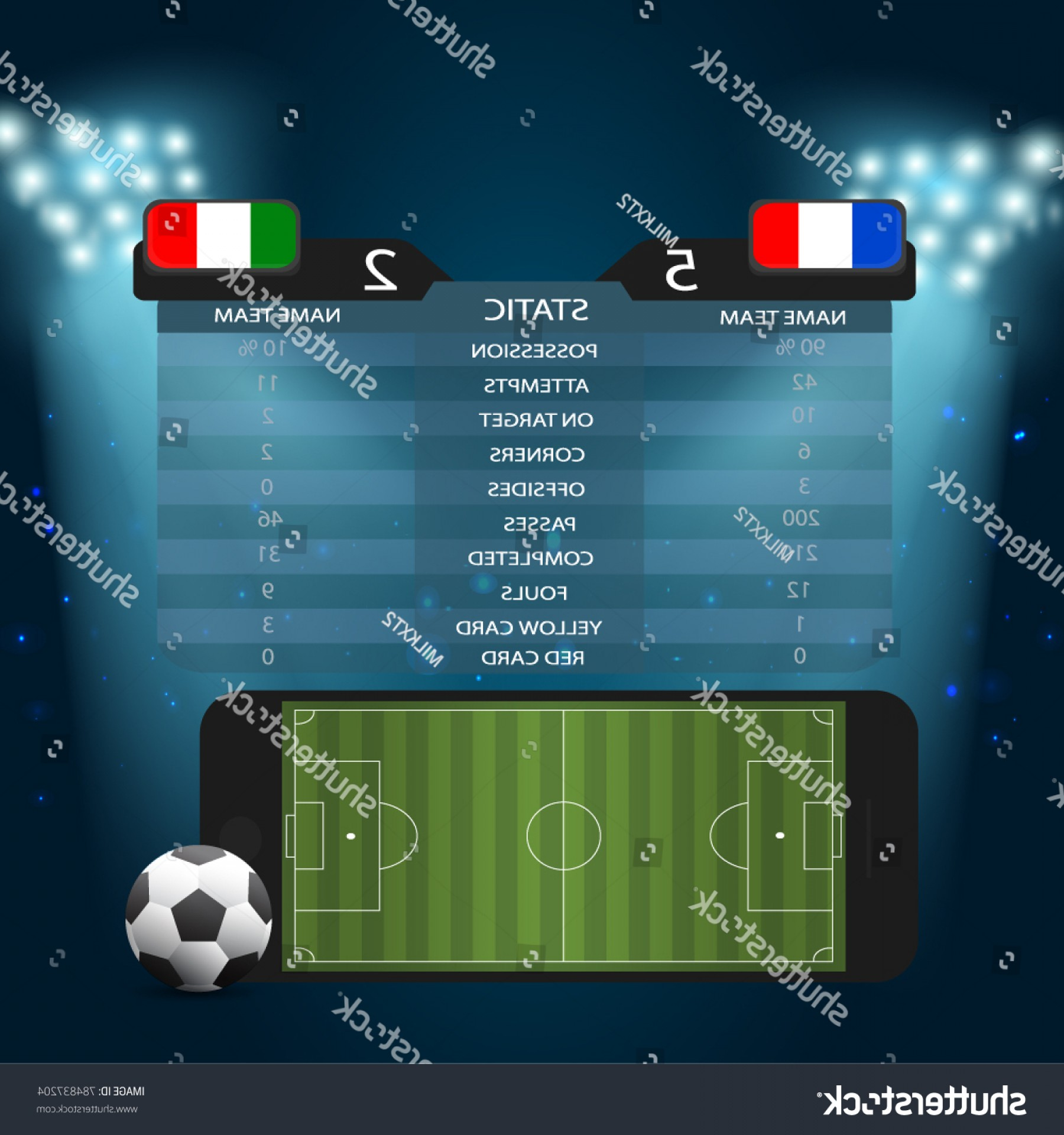 Vector Spotlight 3 Million: Soccer Football Field On Screen Smartphone