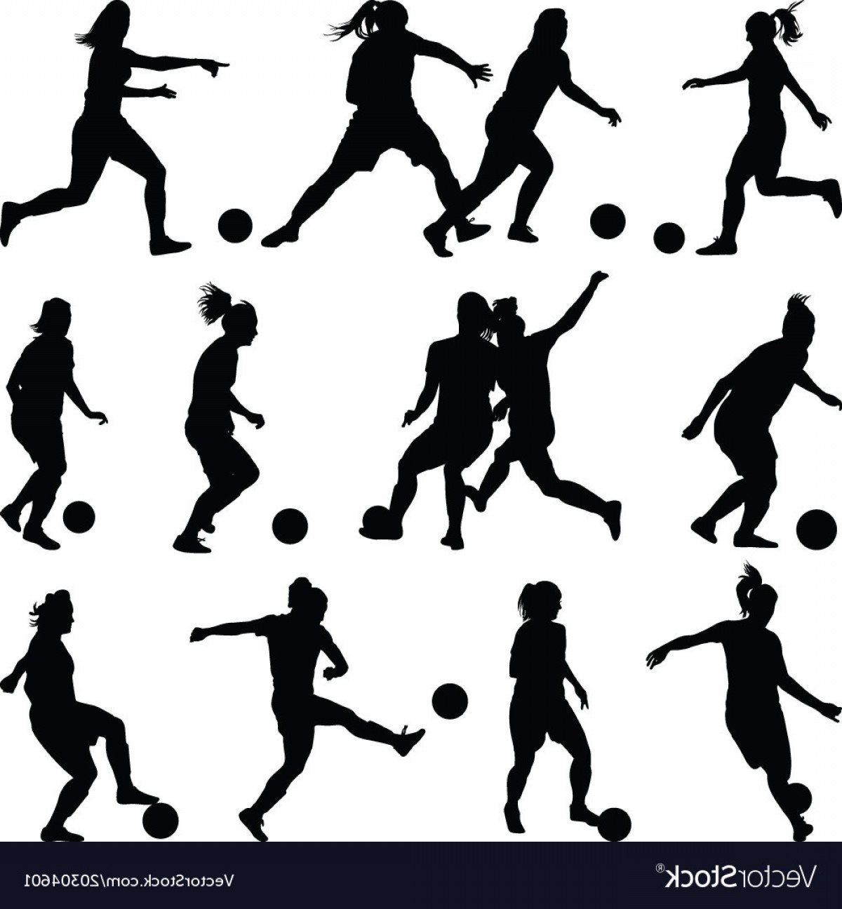 Vector Football Girl: Soccer Women Silhouette Girl Player Vector