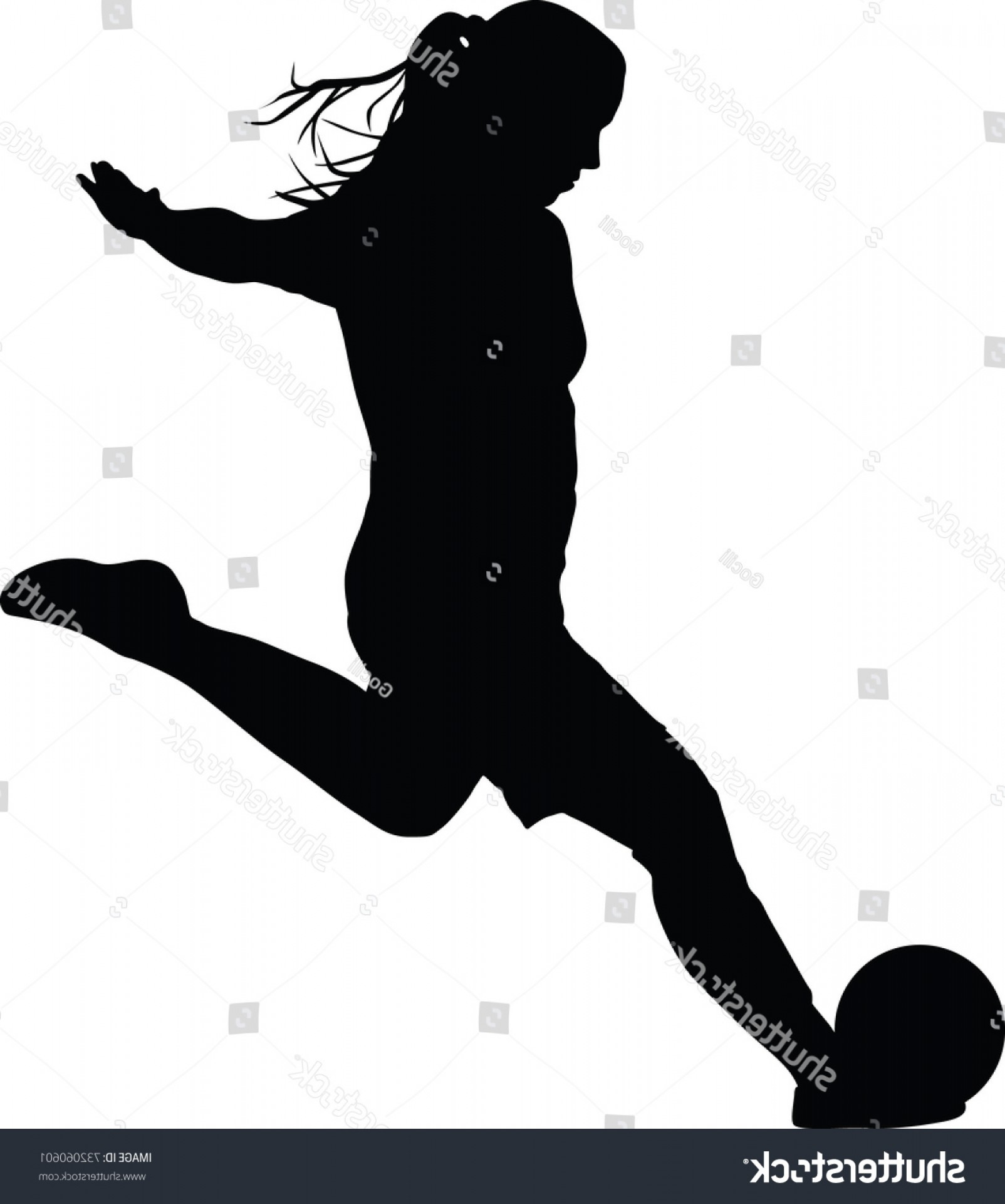 Vector Football Girl: Soccer Women Silhouette Girl Player