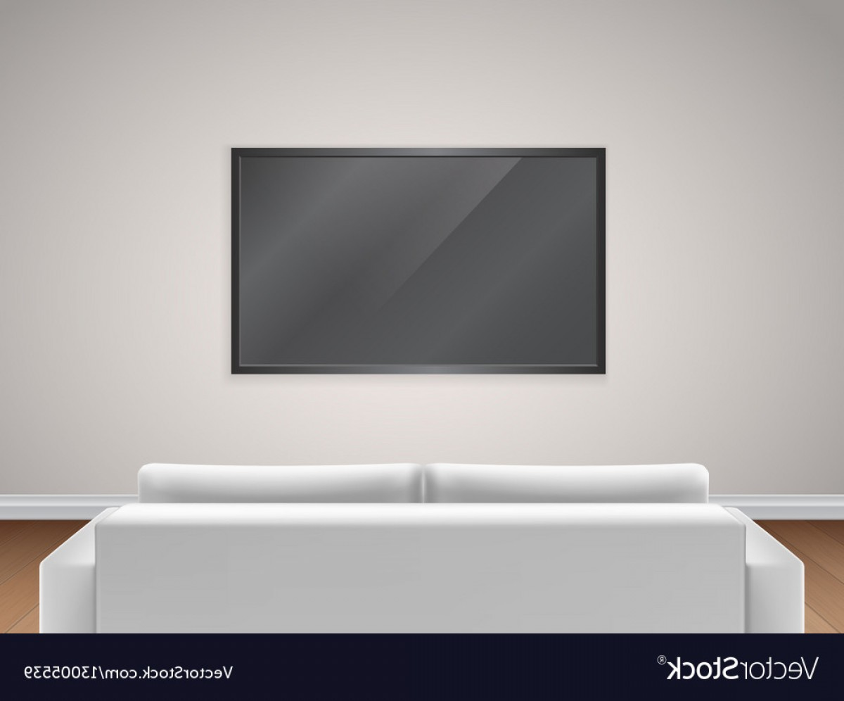 Back Of The Couch Vector: Sofa And Tv Back View Vector